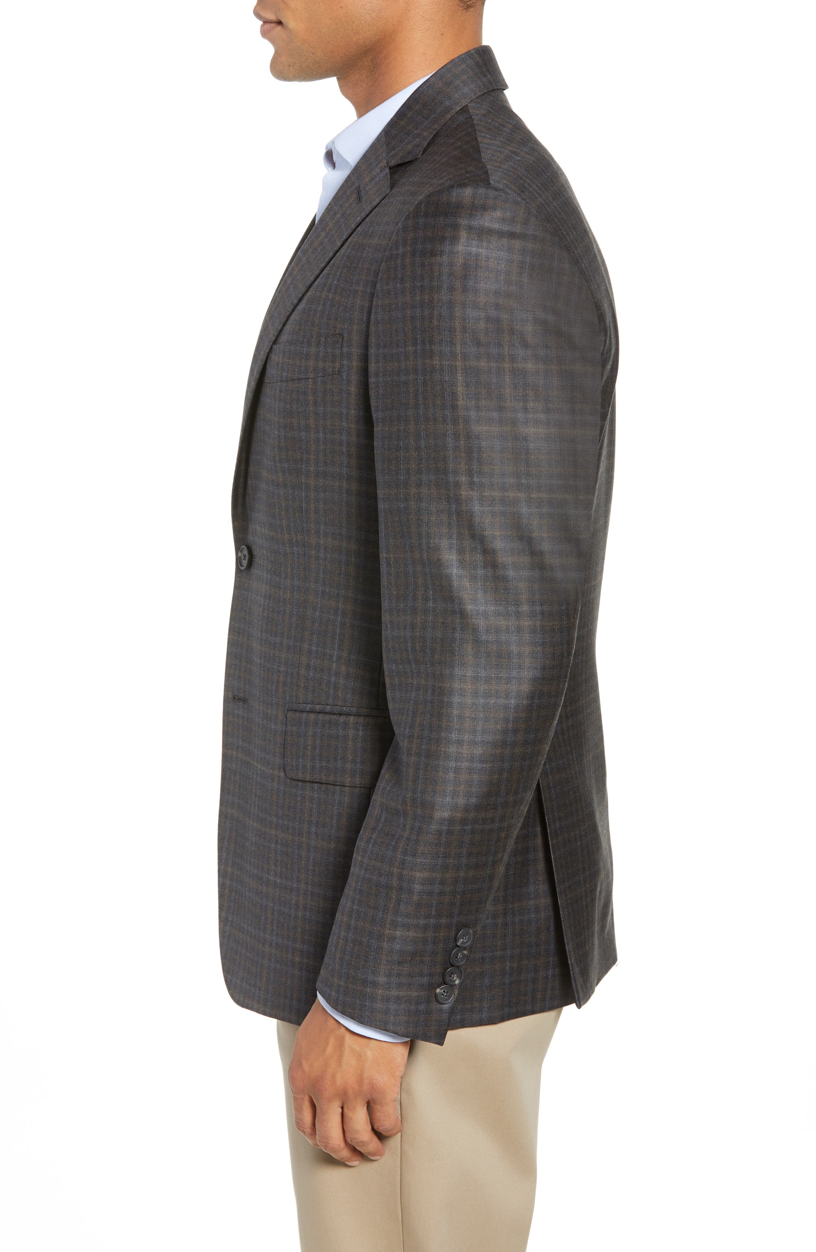 Traditional Fit Plaid Wool Sport Coat,                             Alternate thumbnail 3, color,                             CHARCOAL