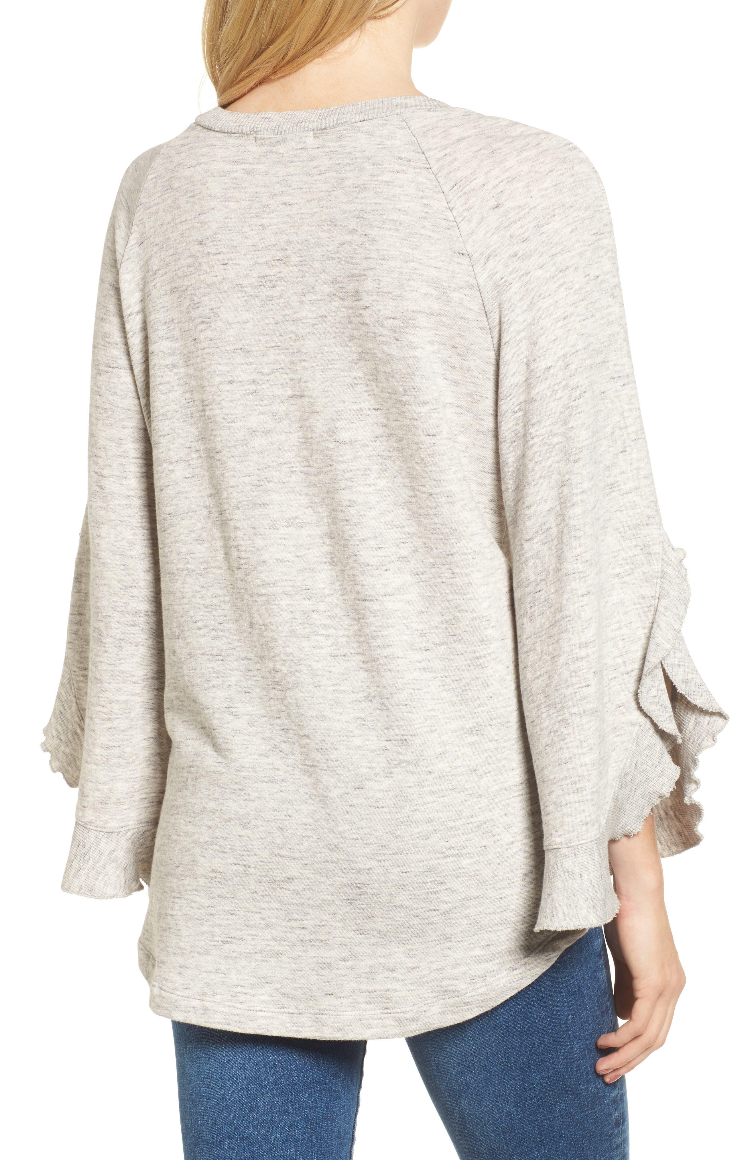 Ruffle Split Sleeve Cotton Sweatshirt,                             Alternate thumbnail 3, color,