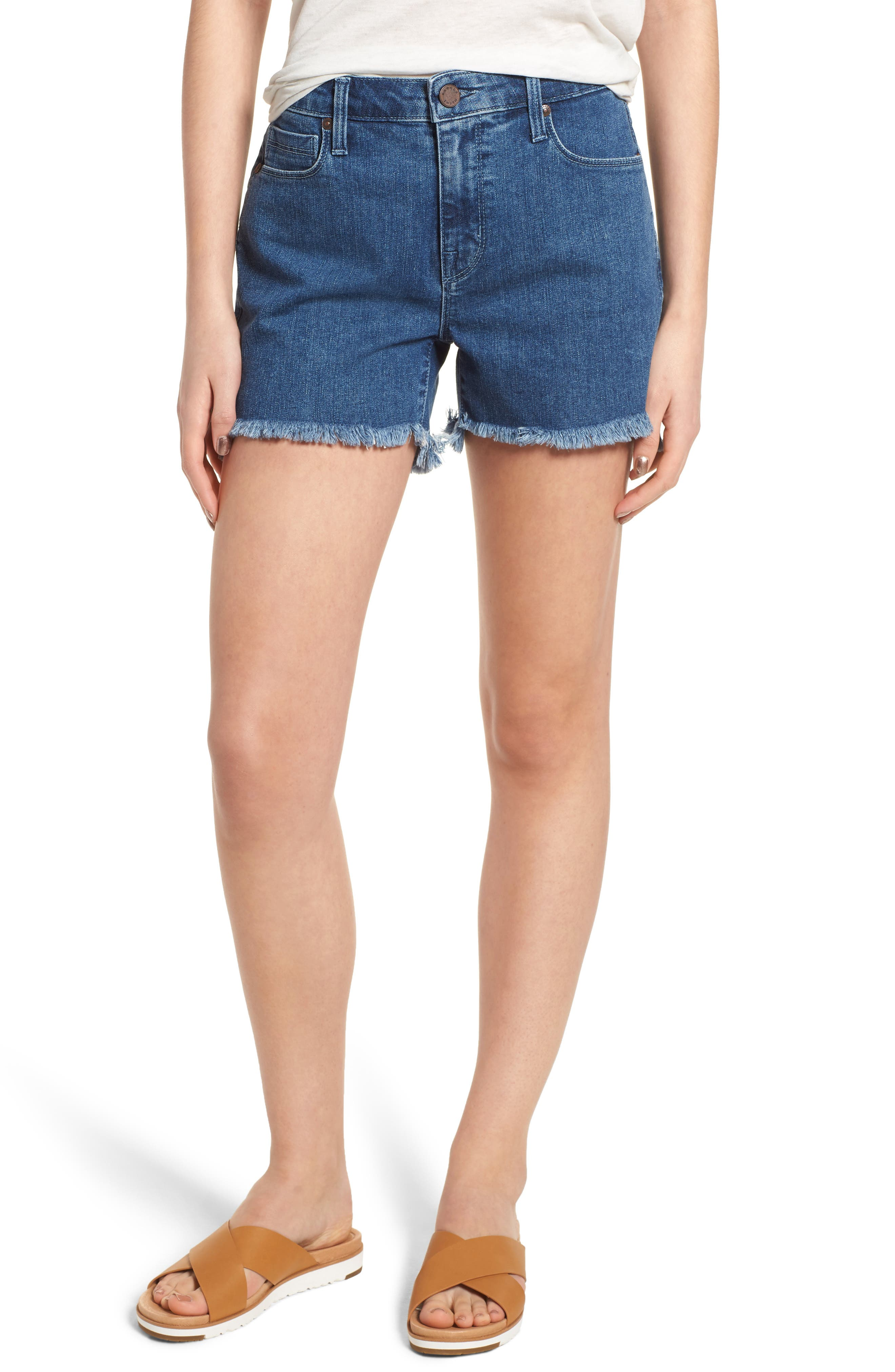 Step Hem Denim Shorts,                         Main,                         color, 461