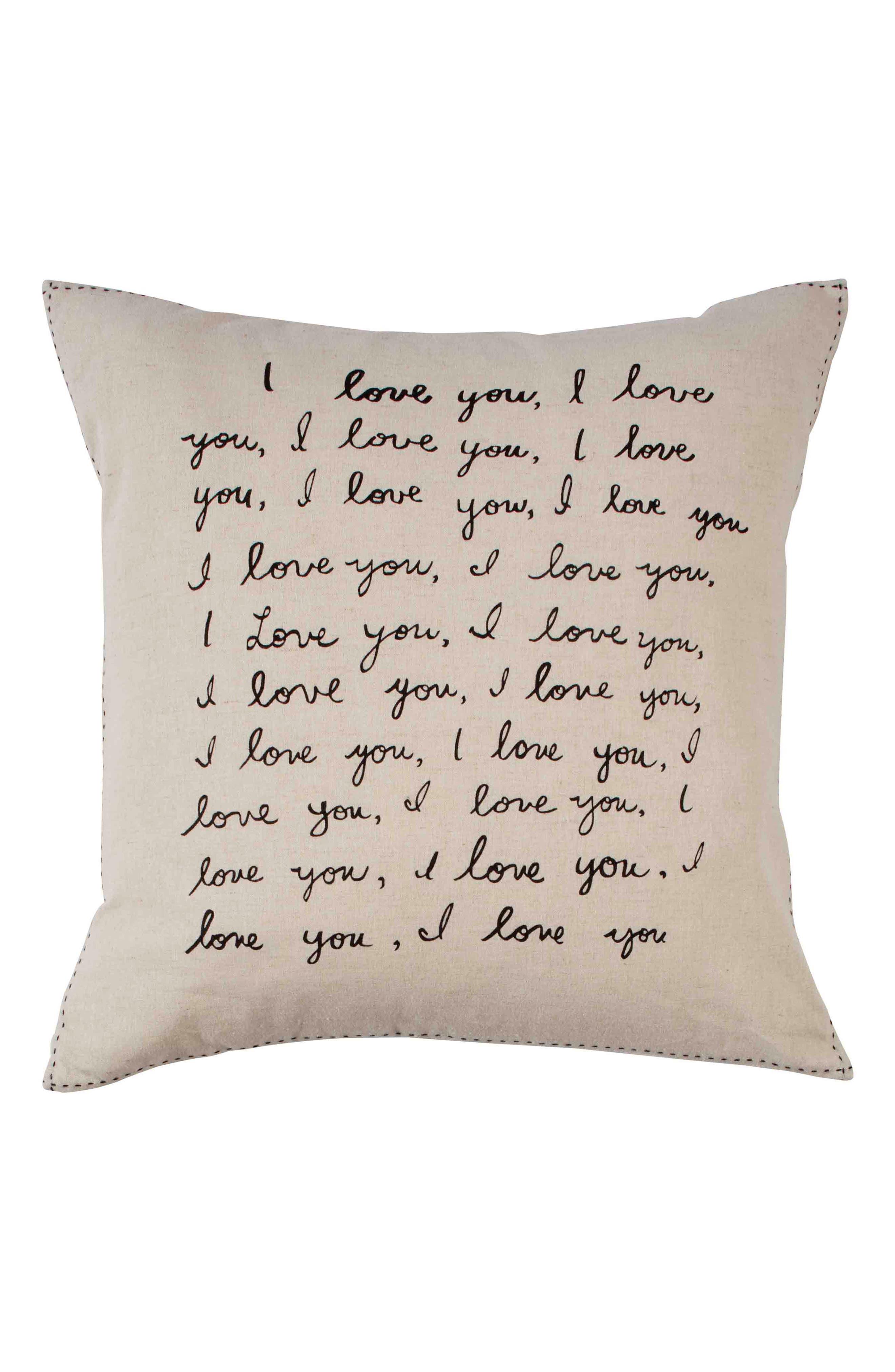 ED ELLEN DEGENERES Tulare - I Love You Accent Pillow, Main, color, NATURAL