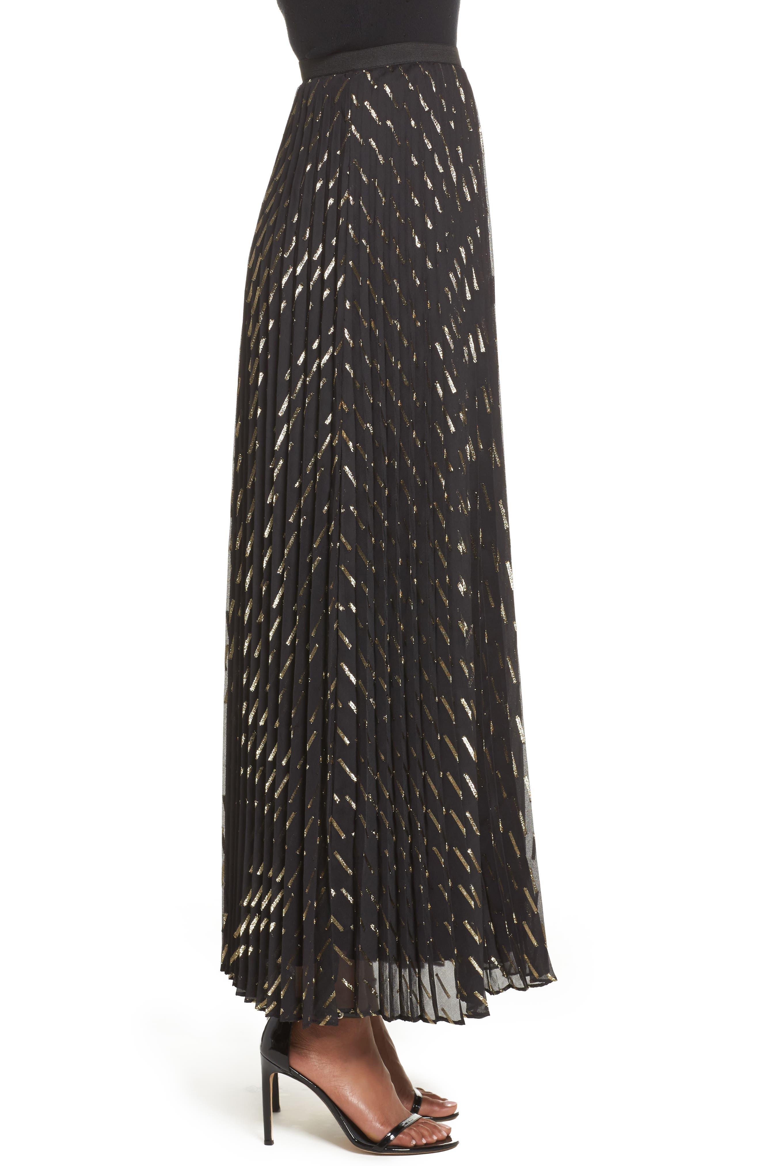 Metallic Detail Pleated Chiffon Maxi Skirt,                             Alternate thumbnail 3, color,                             712