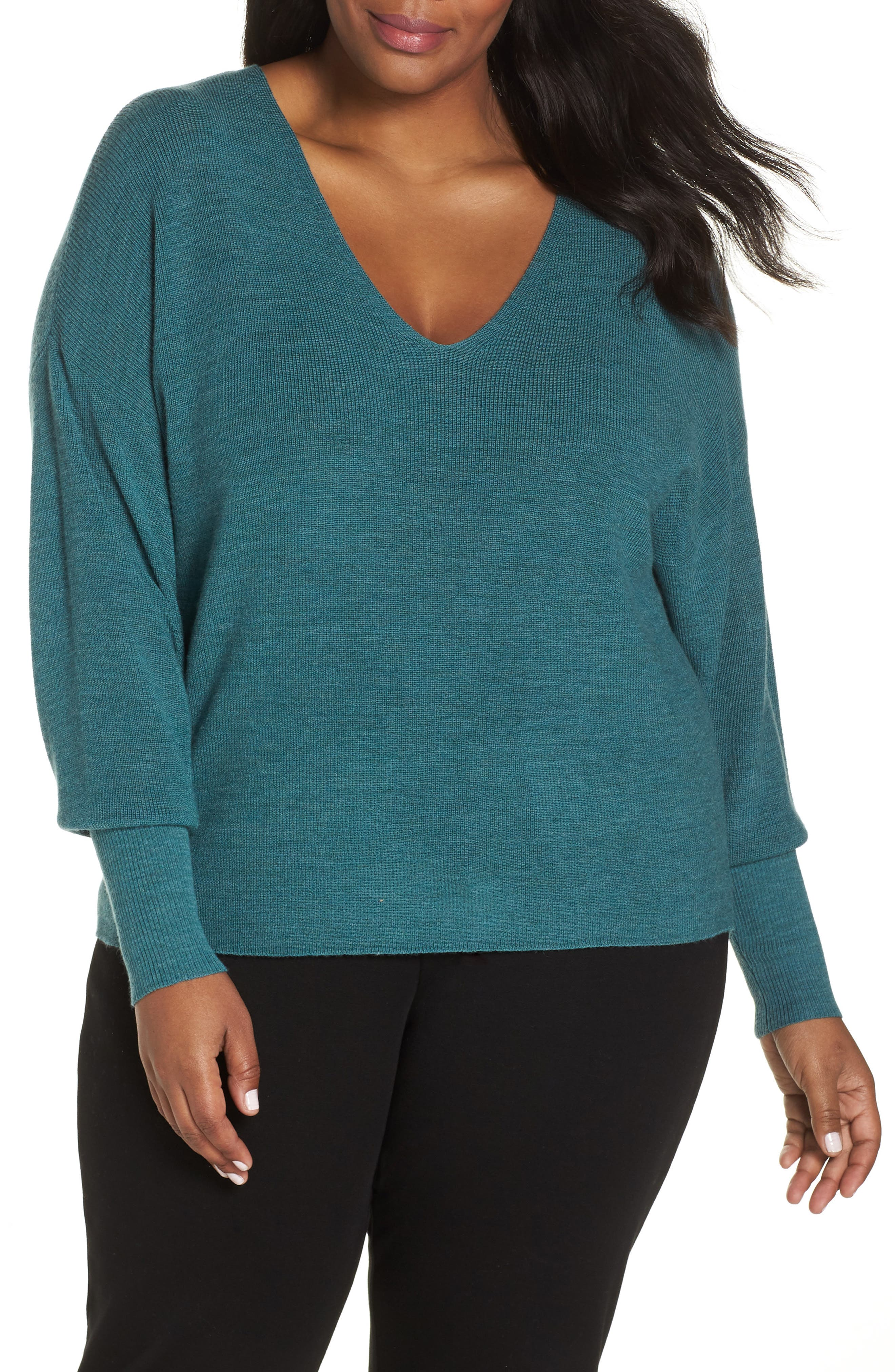 Plus Size Eileen Fisher Boxy Merino Wool Sweater, Green