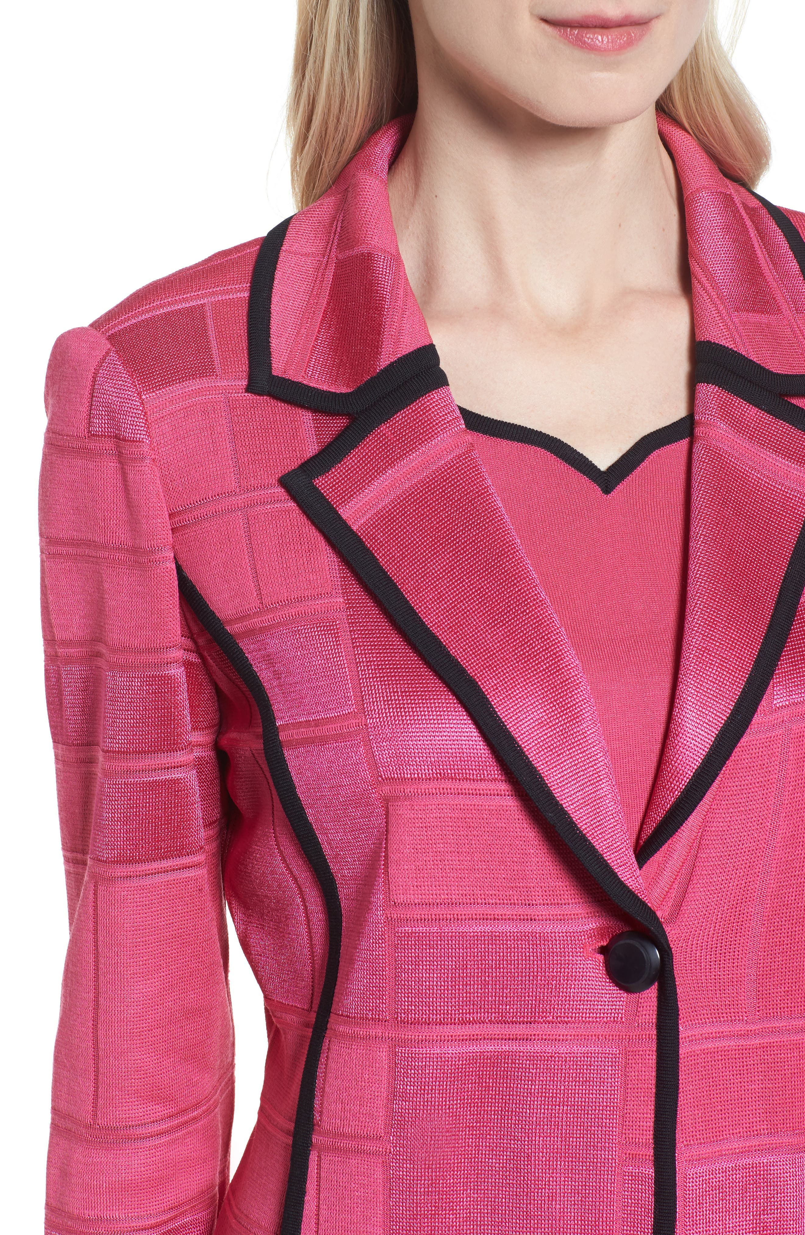 Contrasting Trim Grid Blazer,                             Alternate thumbnail 4, color,                             643