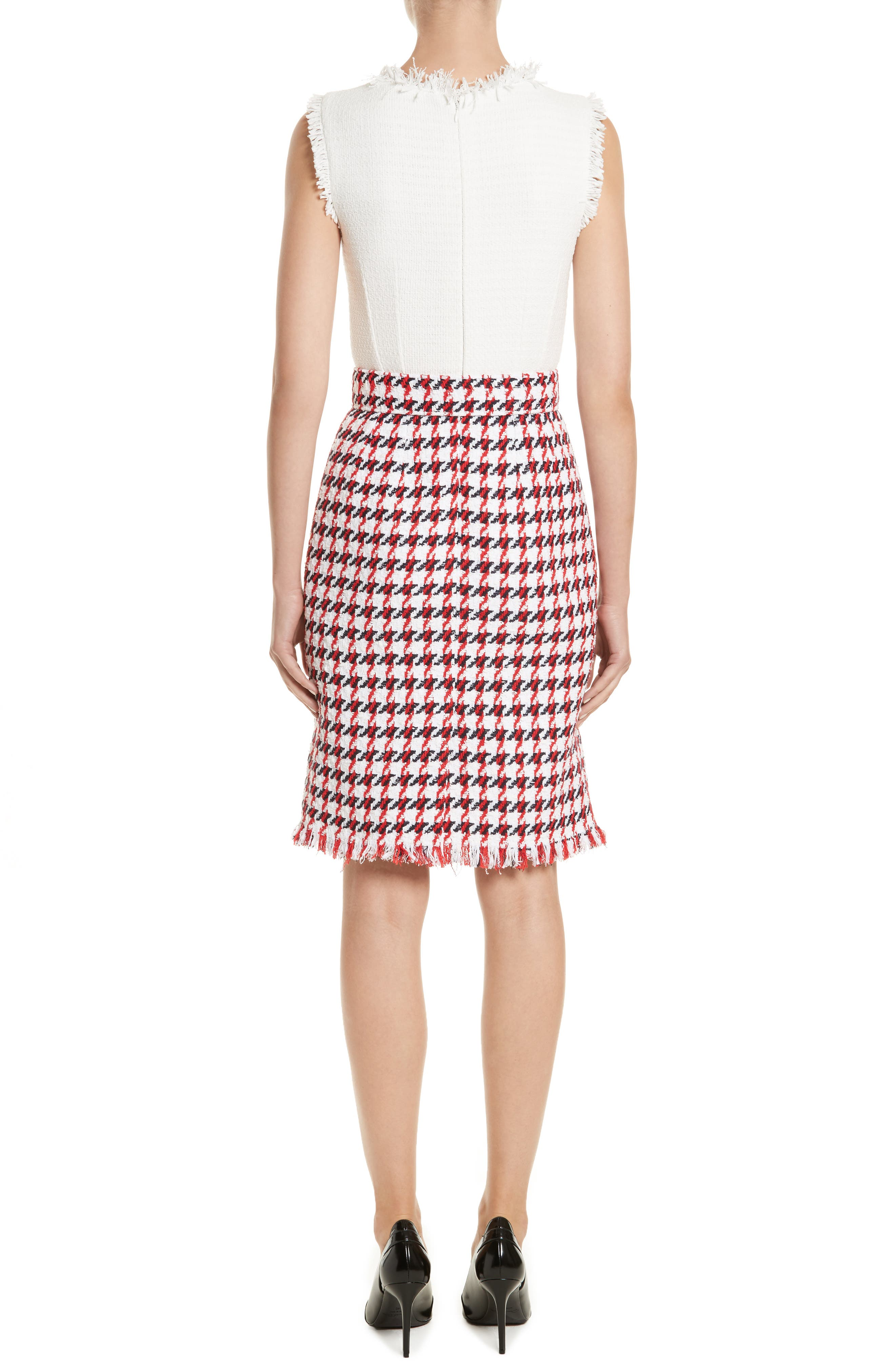 Bicolor Houndstooth Tweed Dress,                             Alternate thumbnail 2, color,