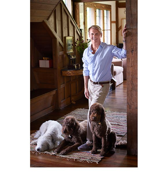 Designing the American dream: Adam Lippes with his dogs.
