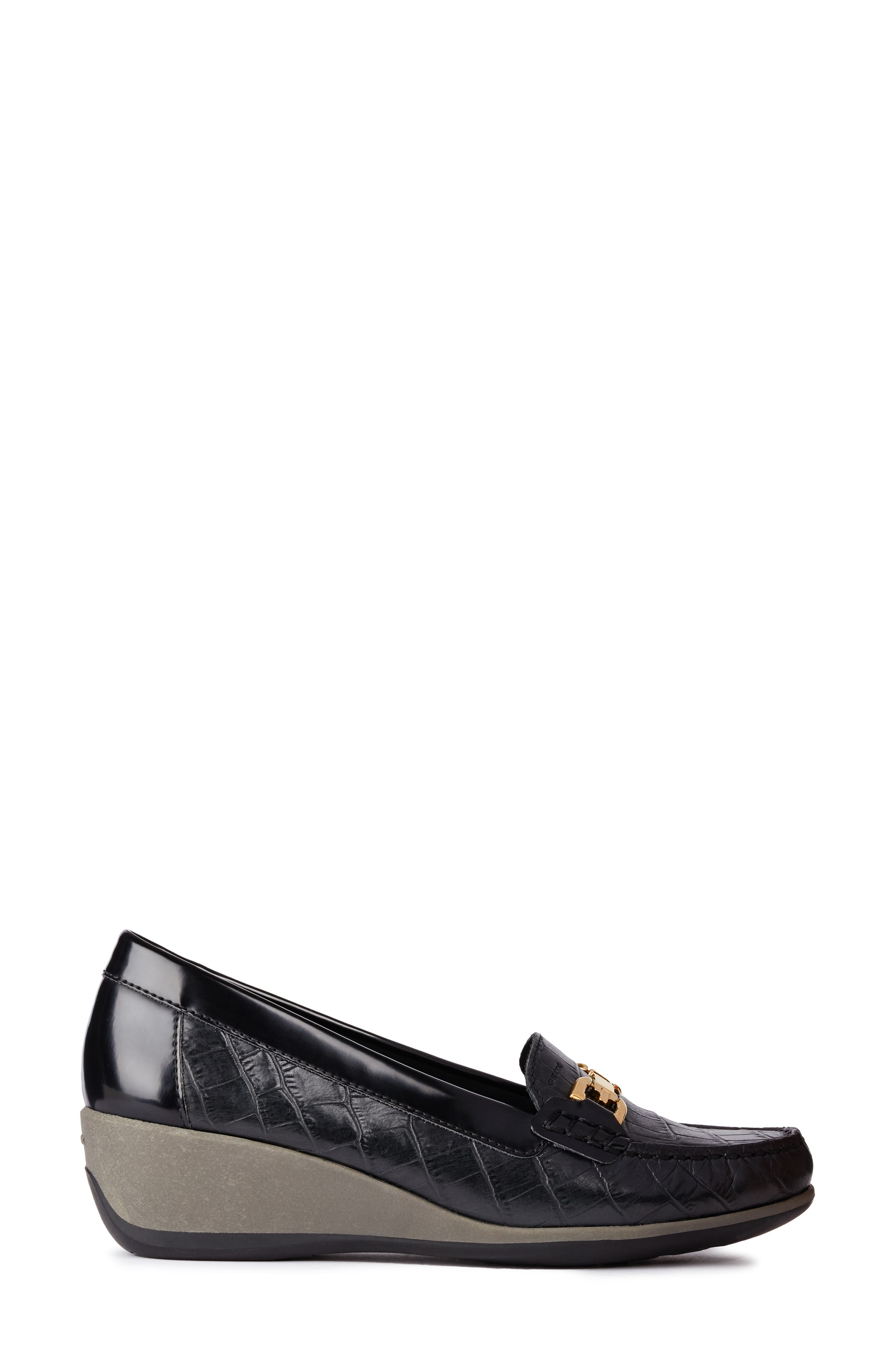 Arethea Loafer Wedge,                             Alternate thumbnail 3, color,                             BLACK LEATHER