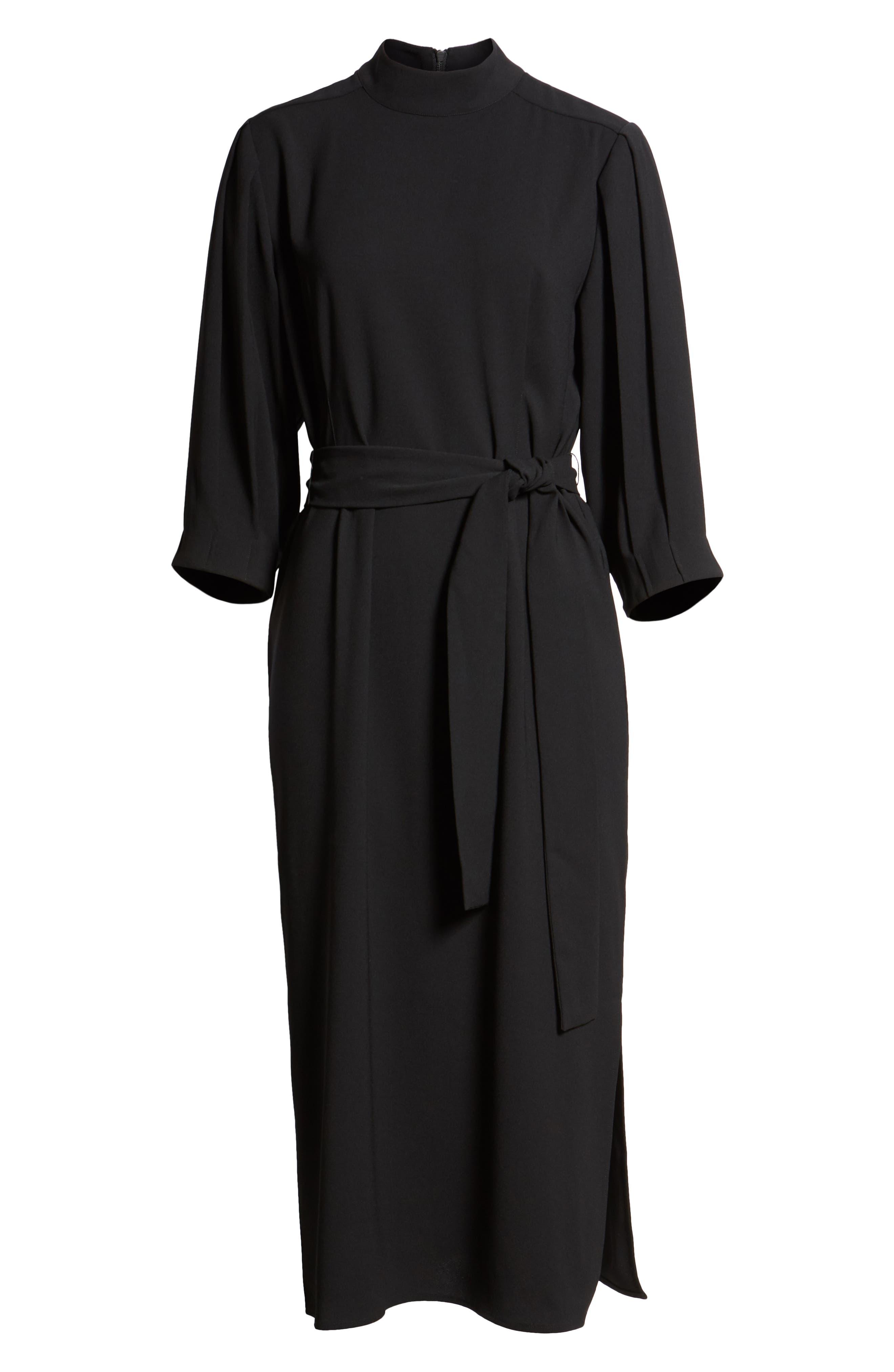 HALOGEN<SUP>®</SUP>,                             Tie Waist Dress,                             Alternate thumbnail 7, color,                             001