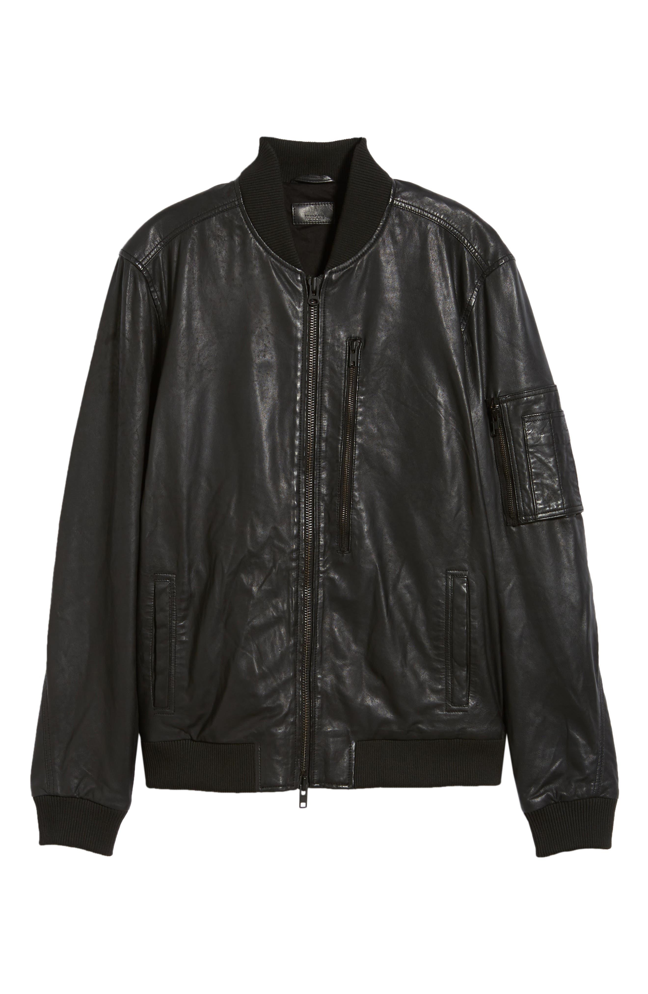 Hudson Leather Bomber Jacket,                             Alternate thumbnail 5, color,                             001