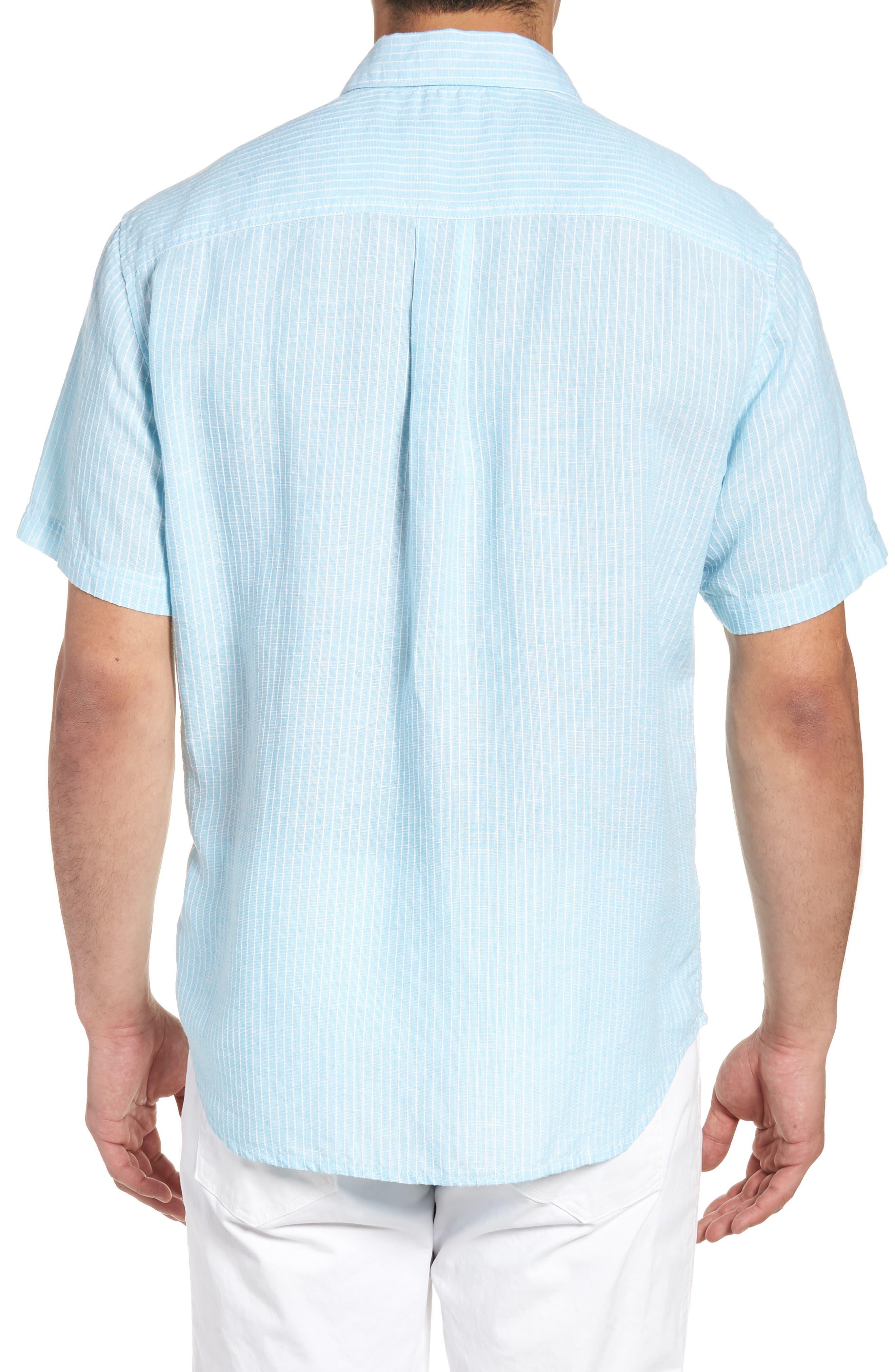 Sand Linen Dobby Stripe Sport Shirt,                             Alternate thumbnail 2, color,                             BLUE RADIANCE