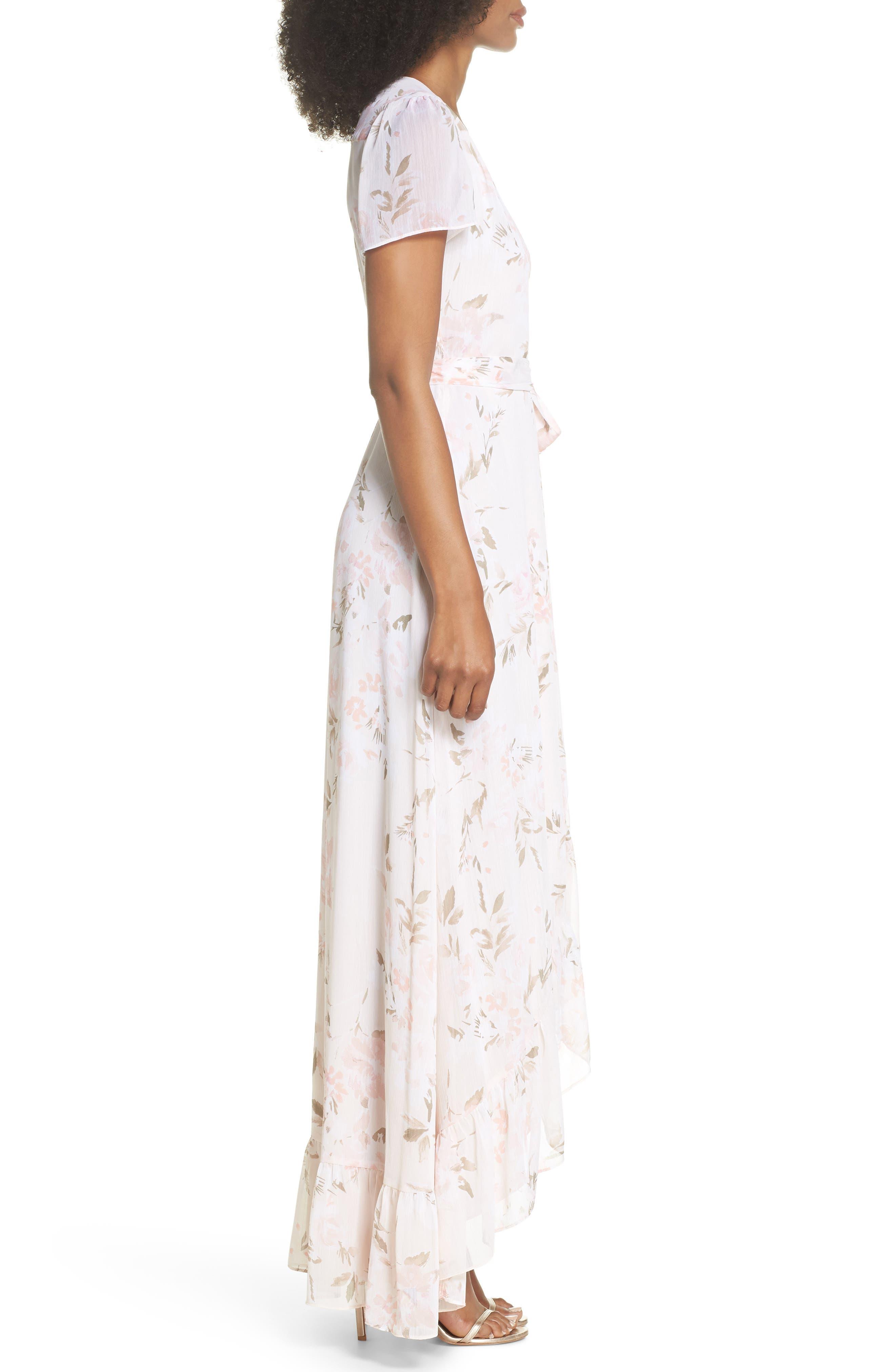 The Natasha Floral Wrap Maxi Dress,                             Alternate thumbnail 3, color,                             BLUSH BOUQUET PRINT