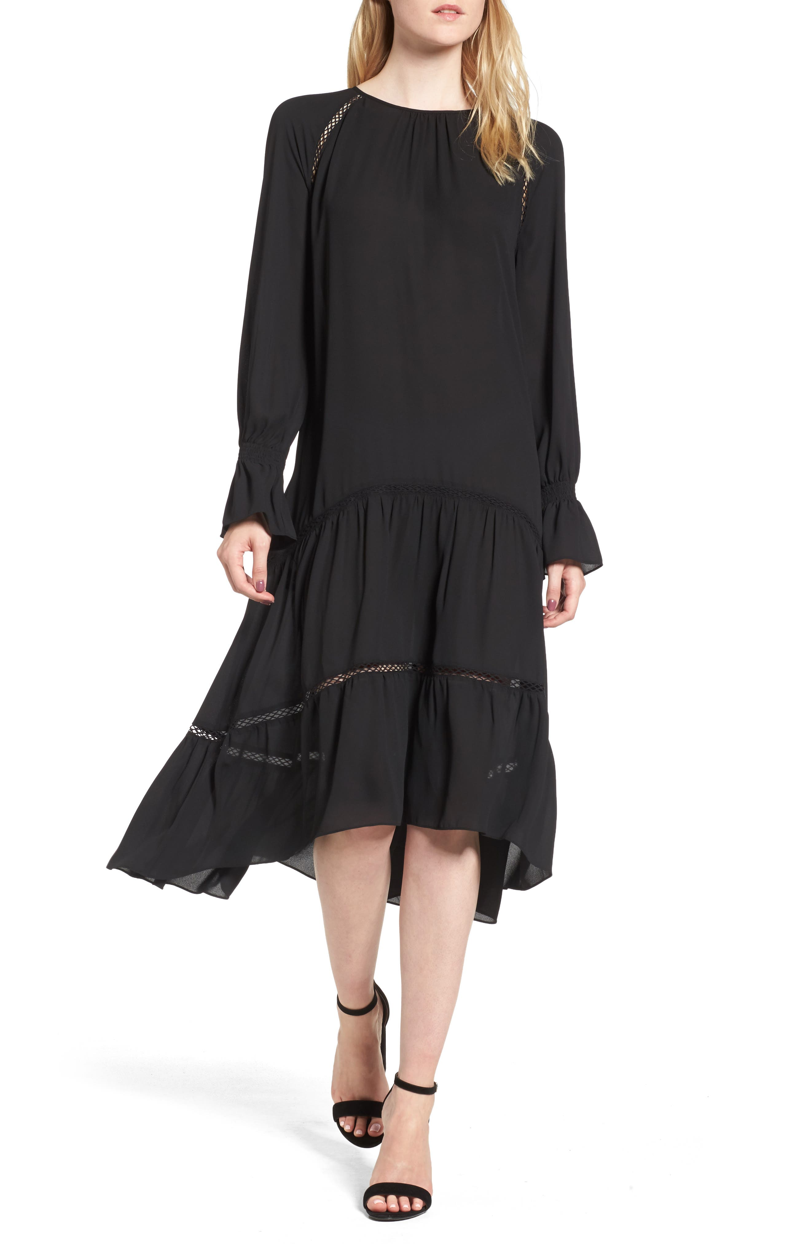 Drop Waist Midi Dress,                             Main thumbnail 1, color,                             001