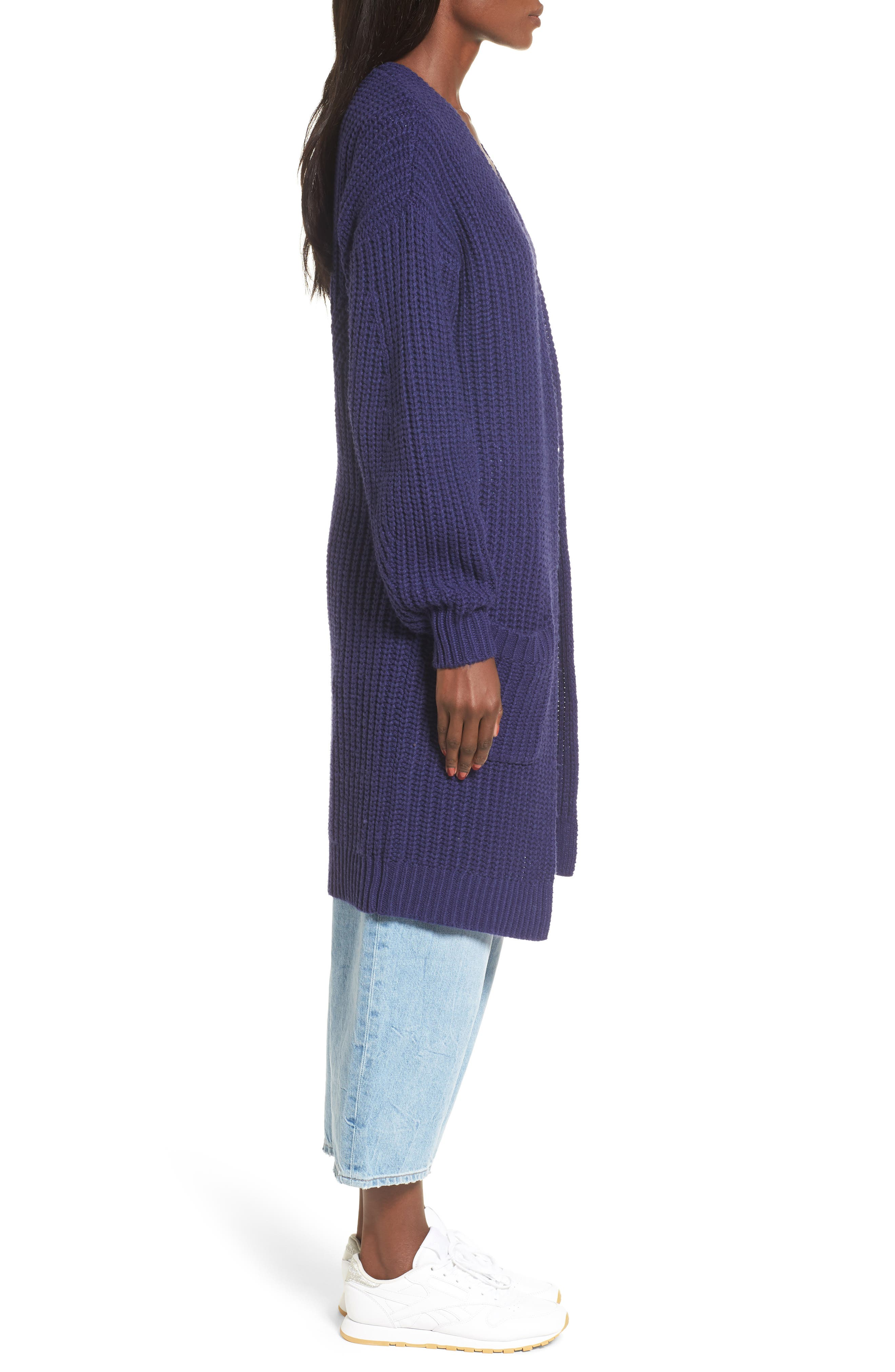 Shaped Sleeve Longline Cardigan,                             Alternate thumbnail 5, color,