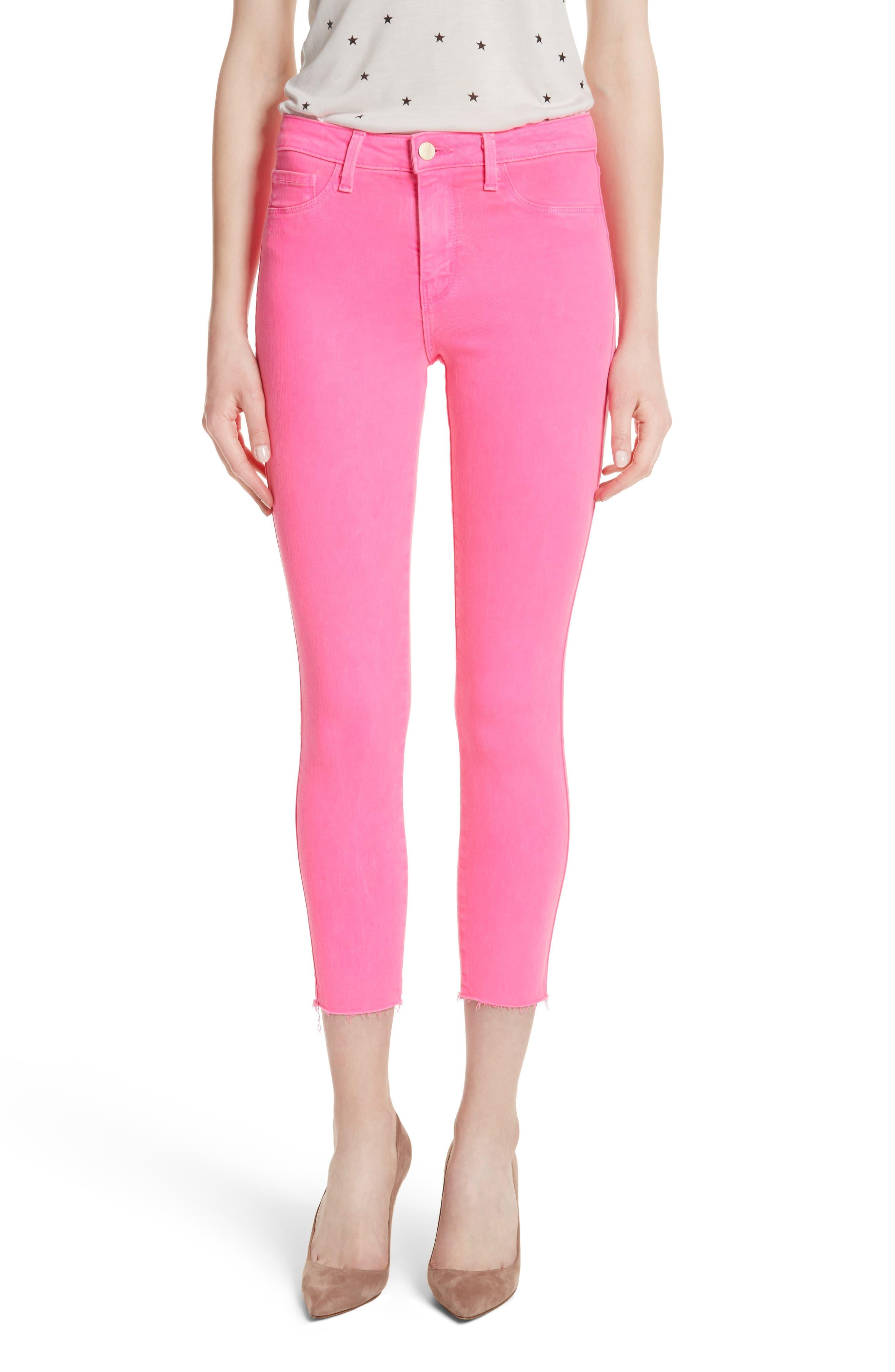 Margot Crop Skinny Jeans,                         Main,                         color, FLAMINGO