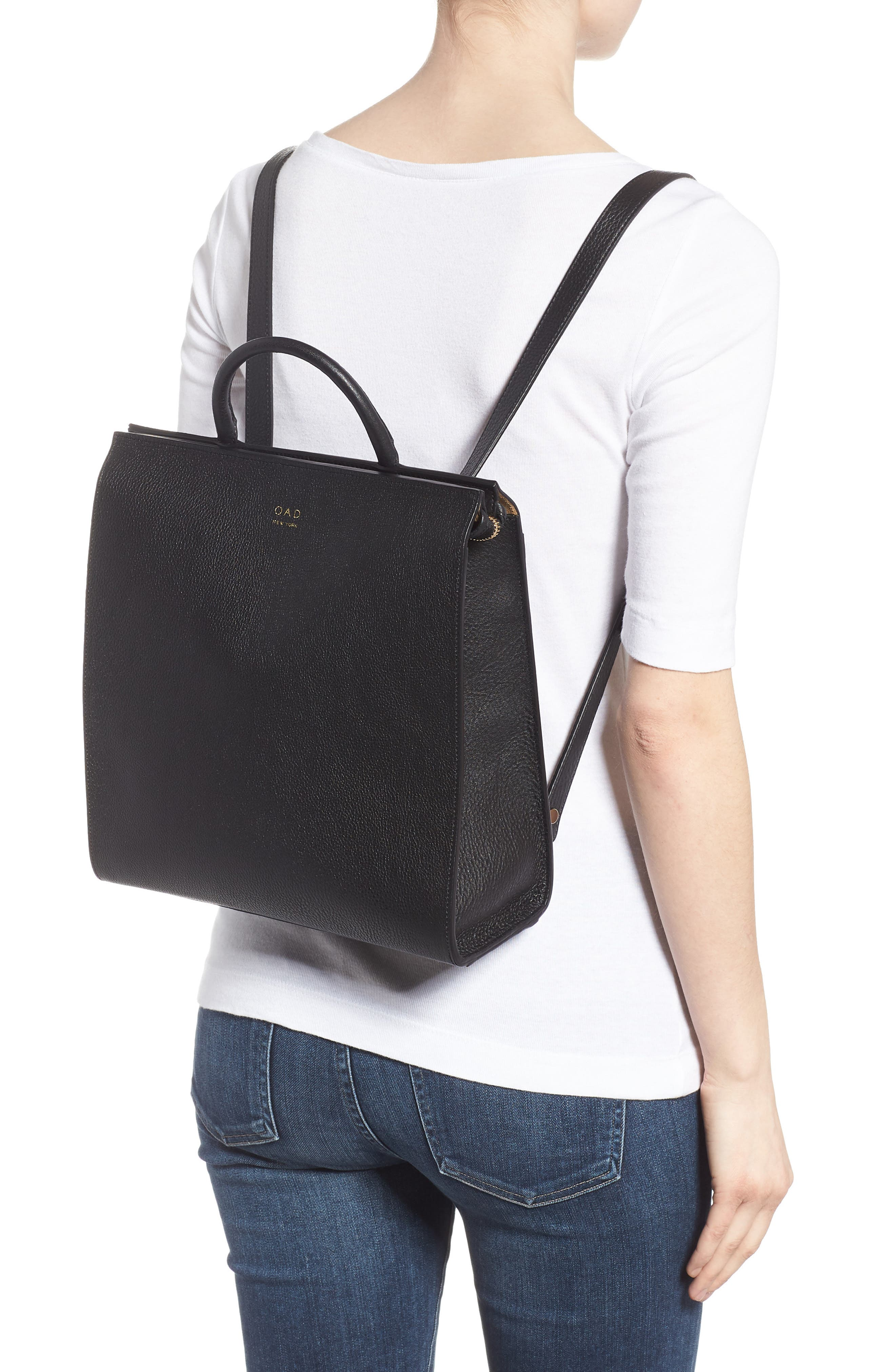 Arc Leather Backpack,                             Alternate thumbnail 2, color,                             001