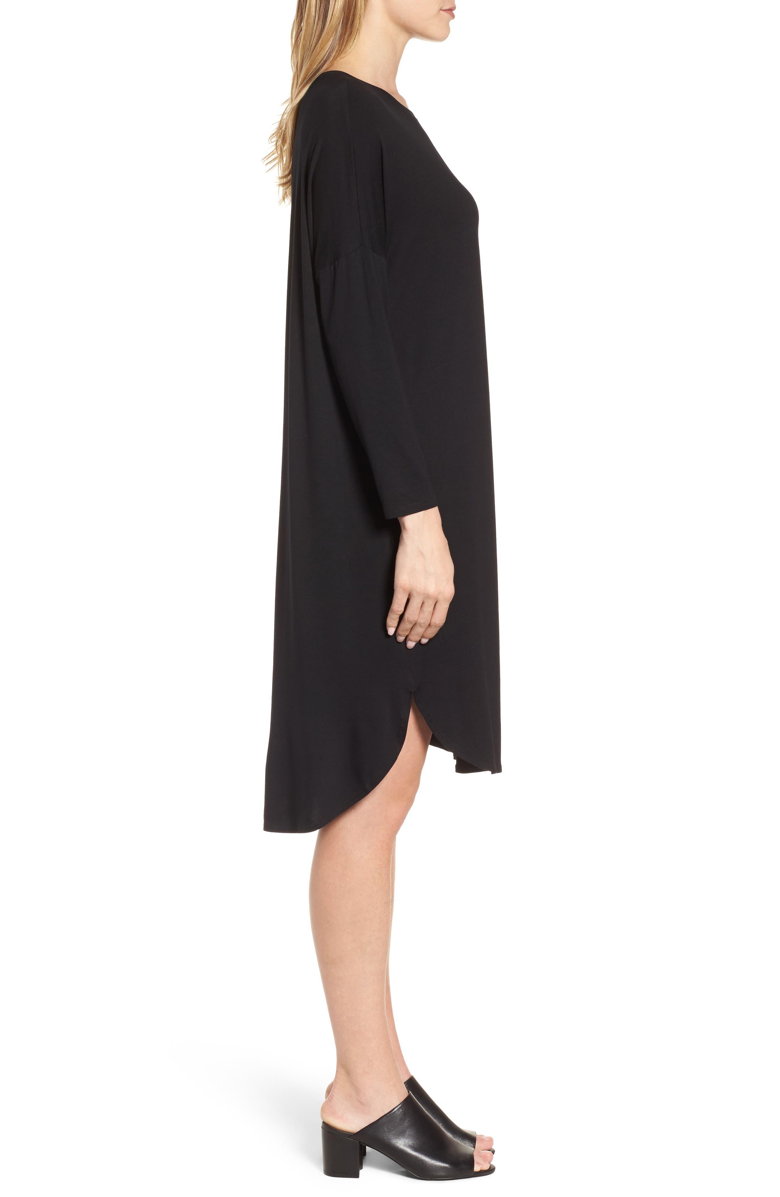 Shirttail Jersey Shift Dress,                             Alternate thumbnail 3, color,                             001