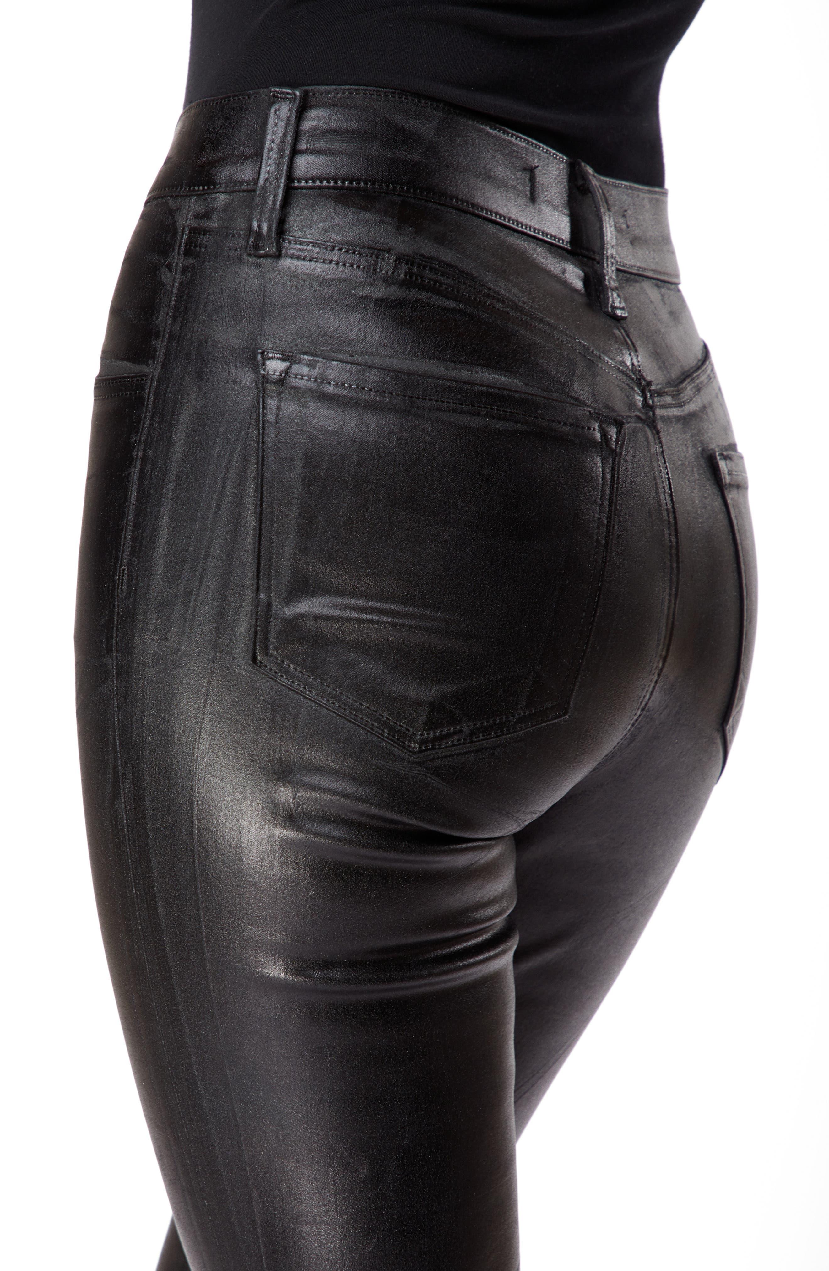 Maria Coated High Waist Skinny Jeans,                             Alternate thumbnail 4, color,                             009
