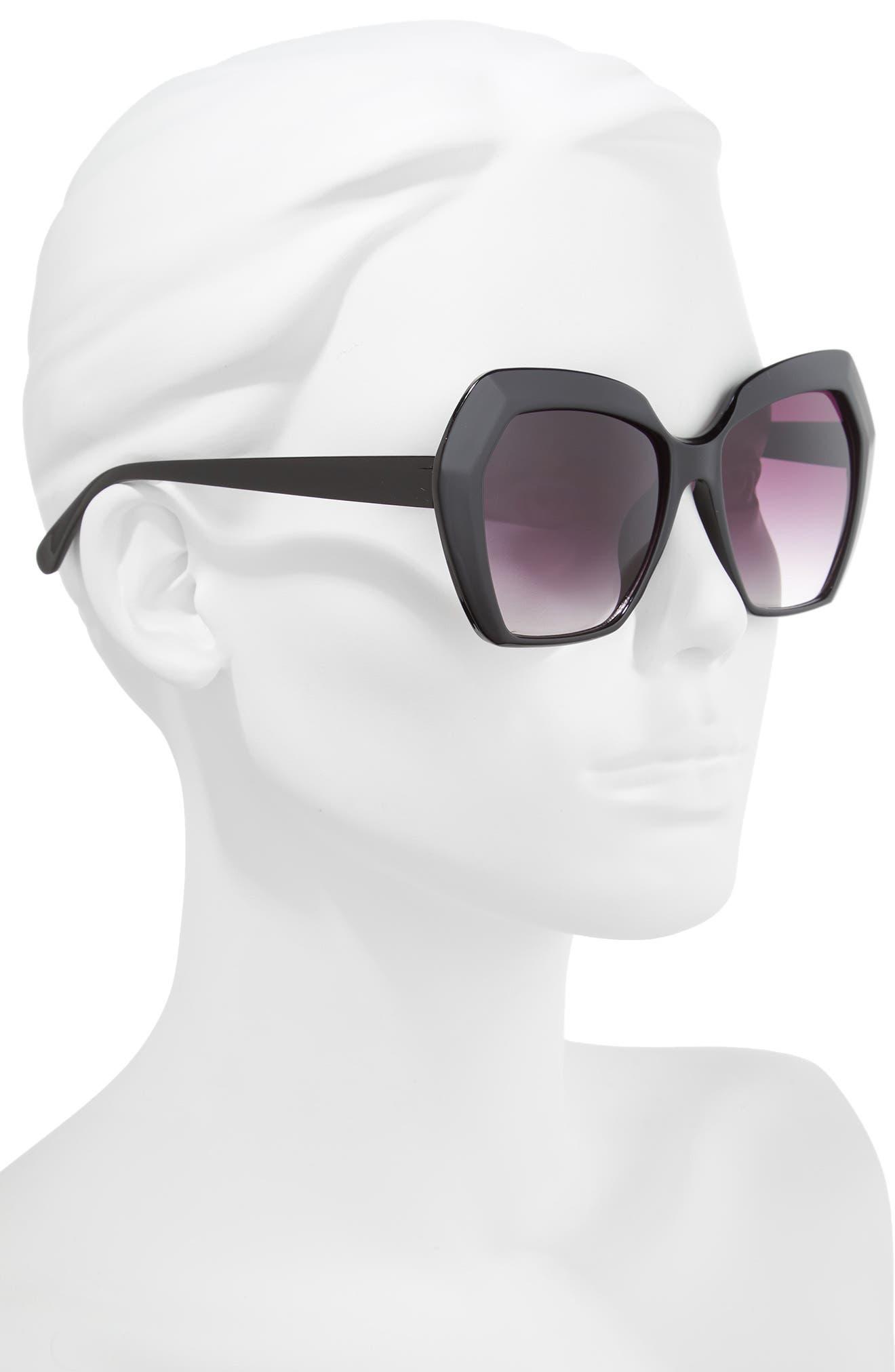 54mm Geometric Sunglasses,                             Alternate thumbnail 2, color,                             BLACK