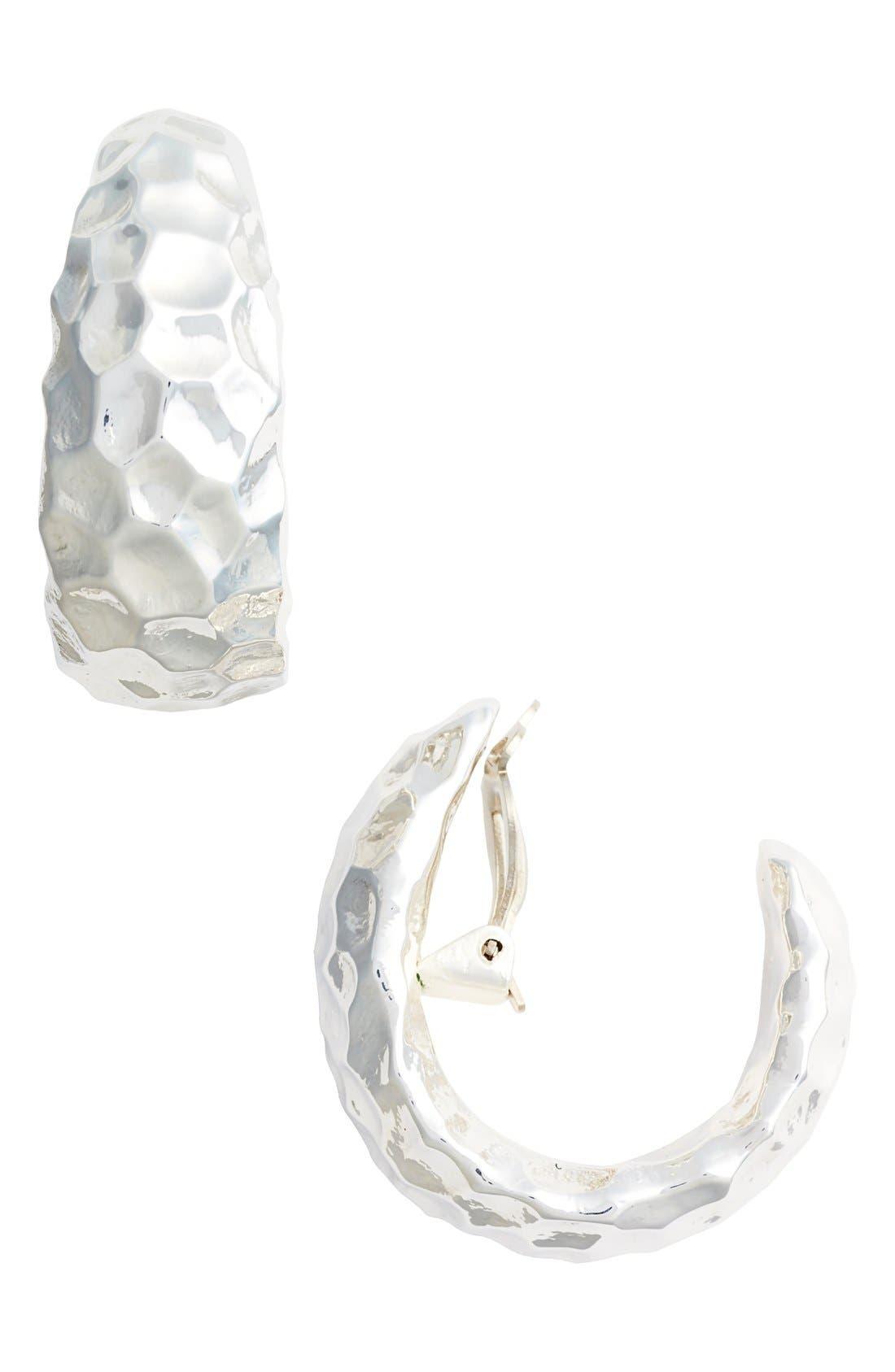 Hammered Clip Hoop Earrings,                         Main,                         color,
