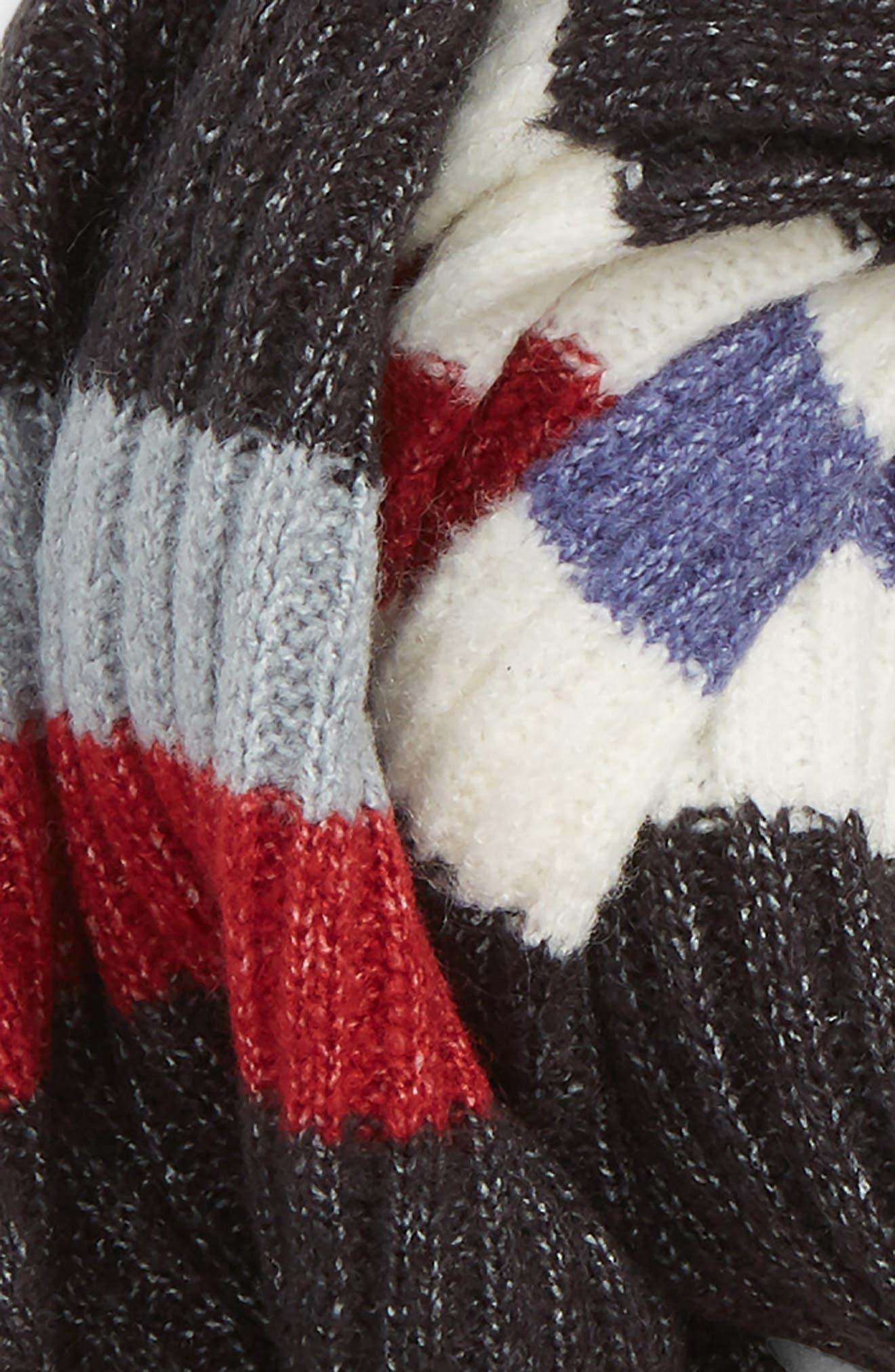 Multi Stripe Rib Scarf,                             Alternate thumbnail 3, color,                             IVORY MULTI