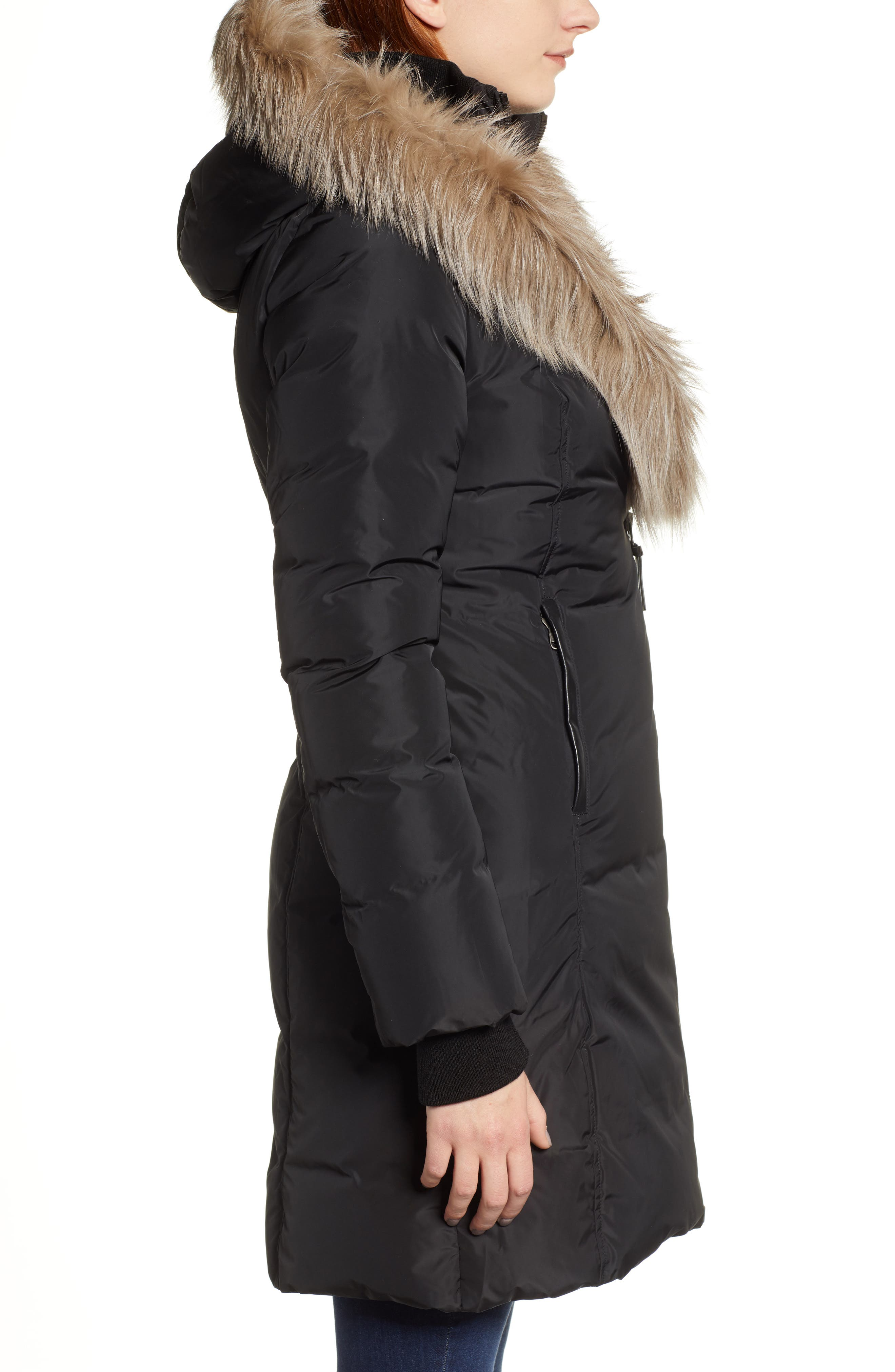 MACKAGE,                             800 Fill Power Down Coat with Genuine Fox Fur Trim,                             Alternate thumbnail 3, color,                             001