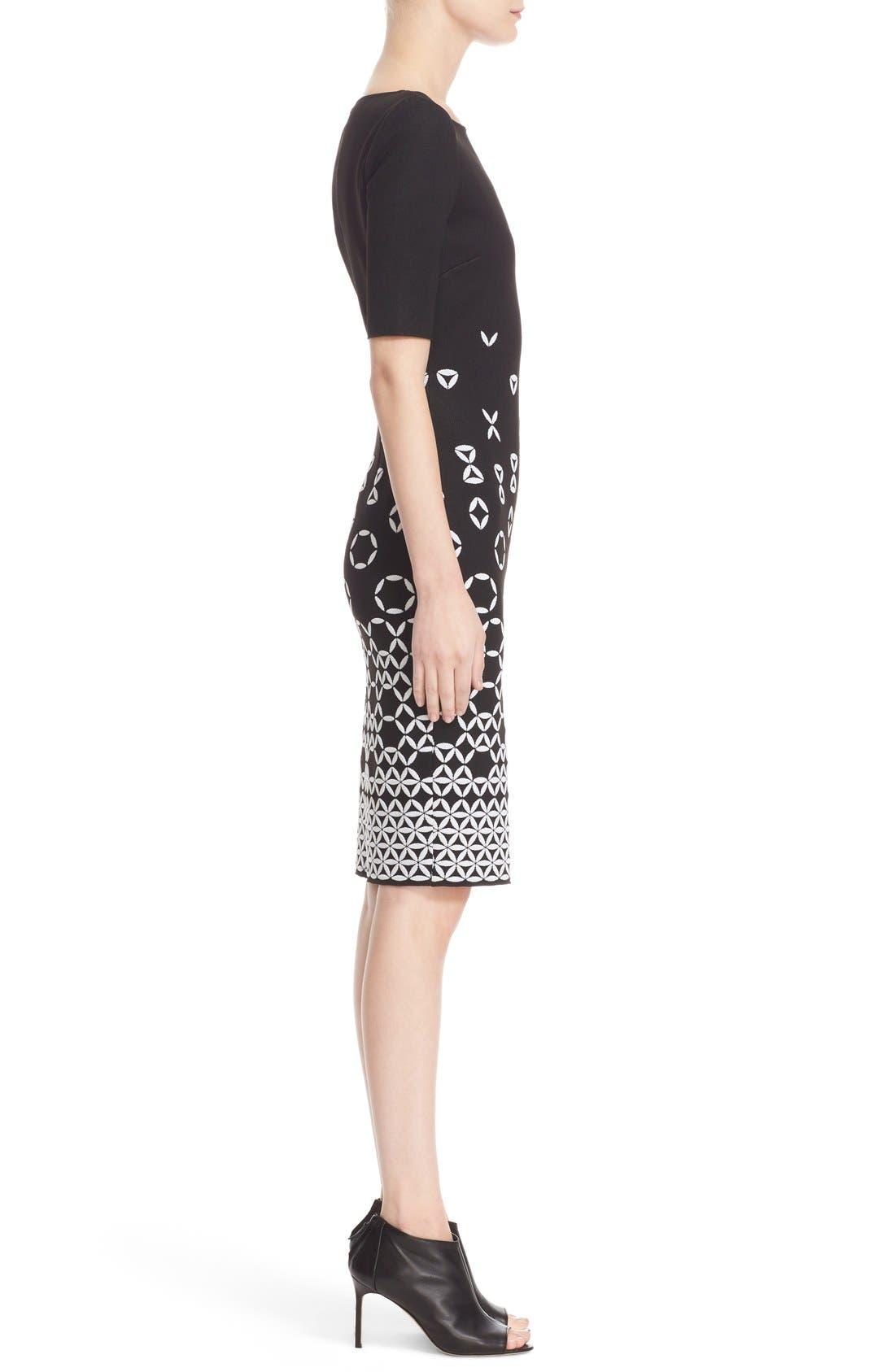 Graphic Knit Sheath Dress,                             Alternate thumbnail 7, color,                             001