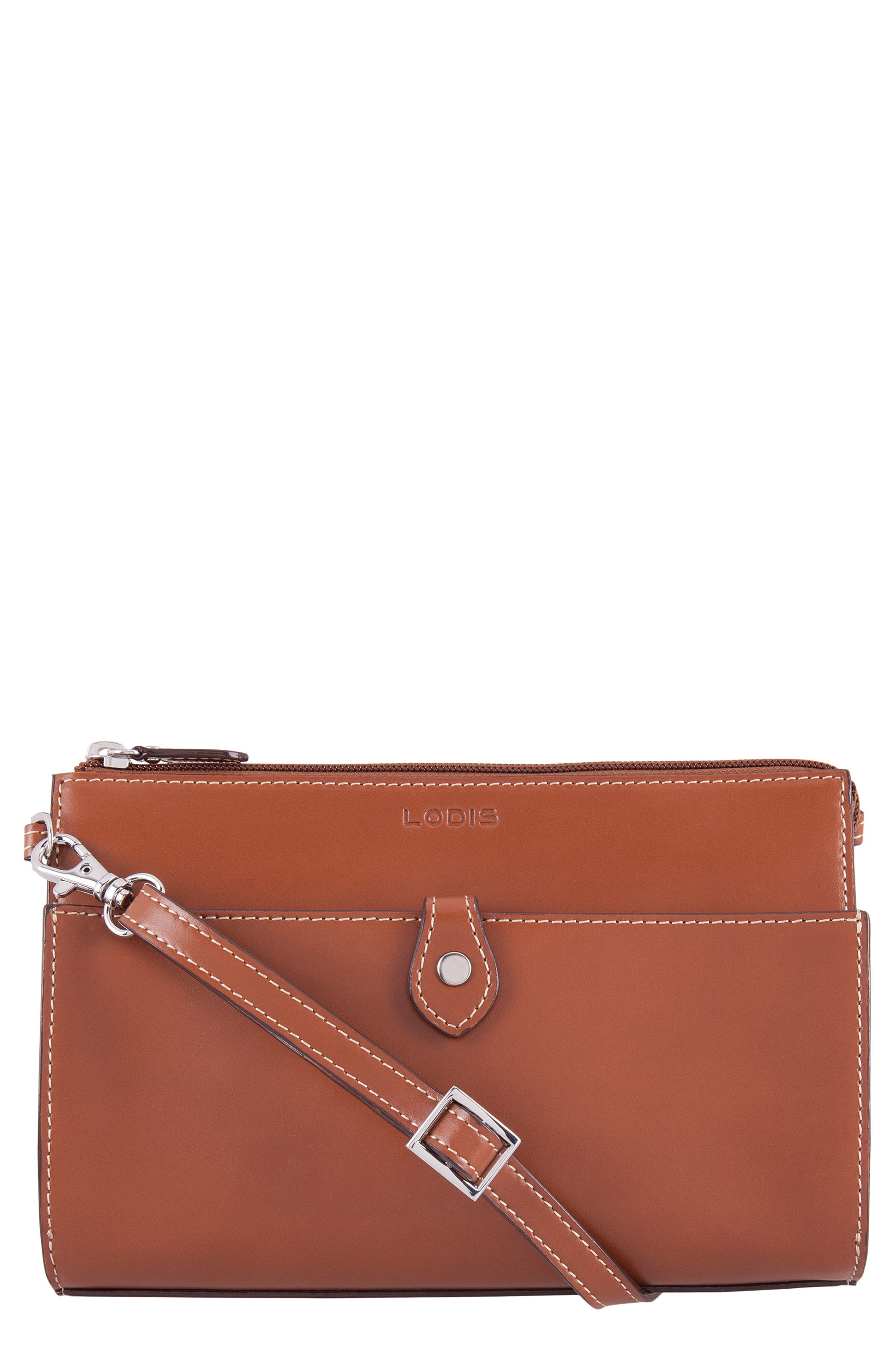 Audrey Under Lock & Key Vicky Convertible Leather Crossbody Bag,                         Main,                         color, SEQUOIA/ PAPAYA