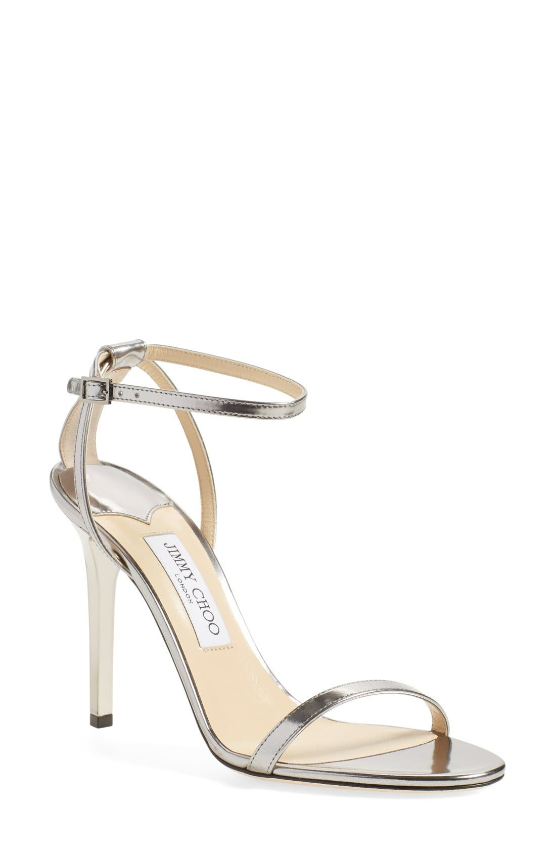 JIMMY CHOO,                             'Minny' Ankle Strap Sandal,                             Main thumbnail 1, color,                             040
