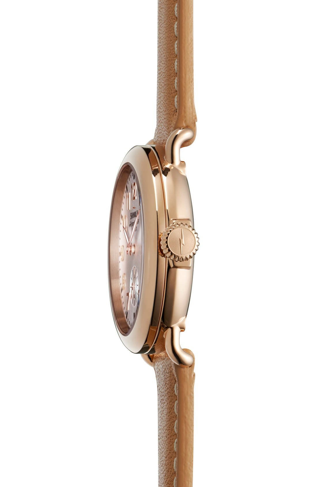 The Runwell Leather Strap Watch, 36mm,                             Alternate thumbnail 3, color,                             NATURAL/ ROSE GOLD