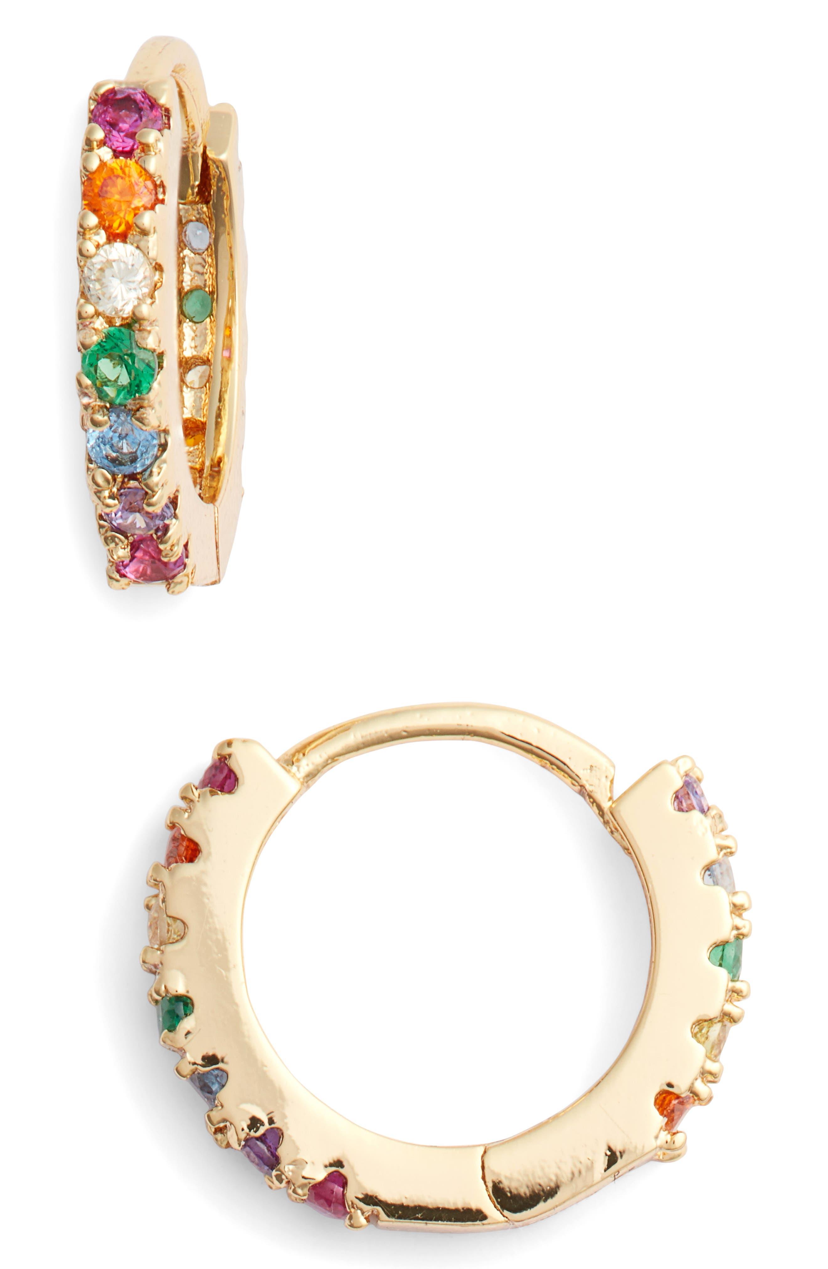 Rainbow Huggie Hoop Earrings,                             Main thumbnail 1, color,                             RAINBOW/ GOLD