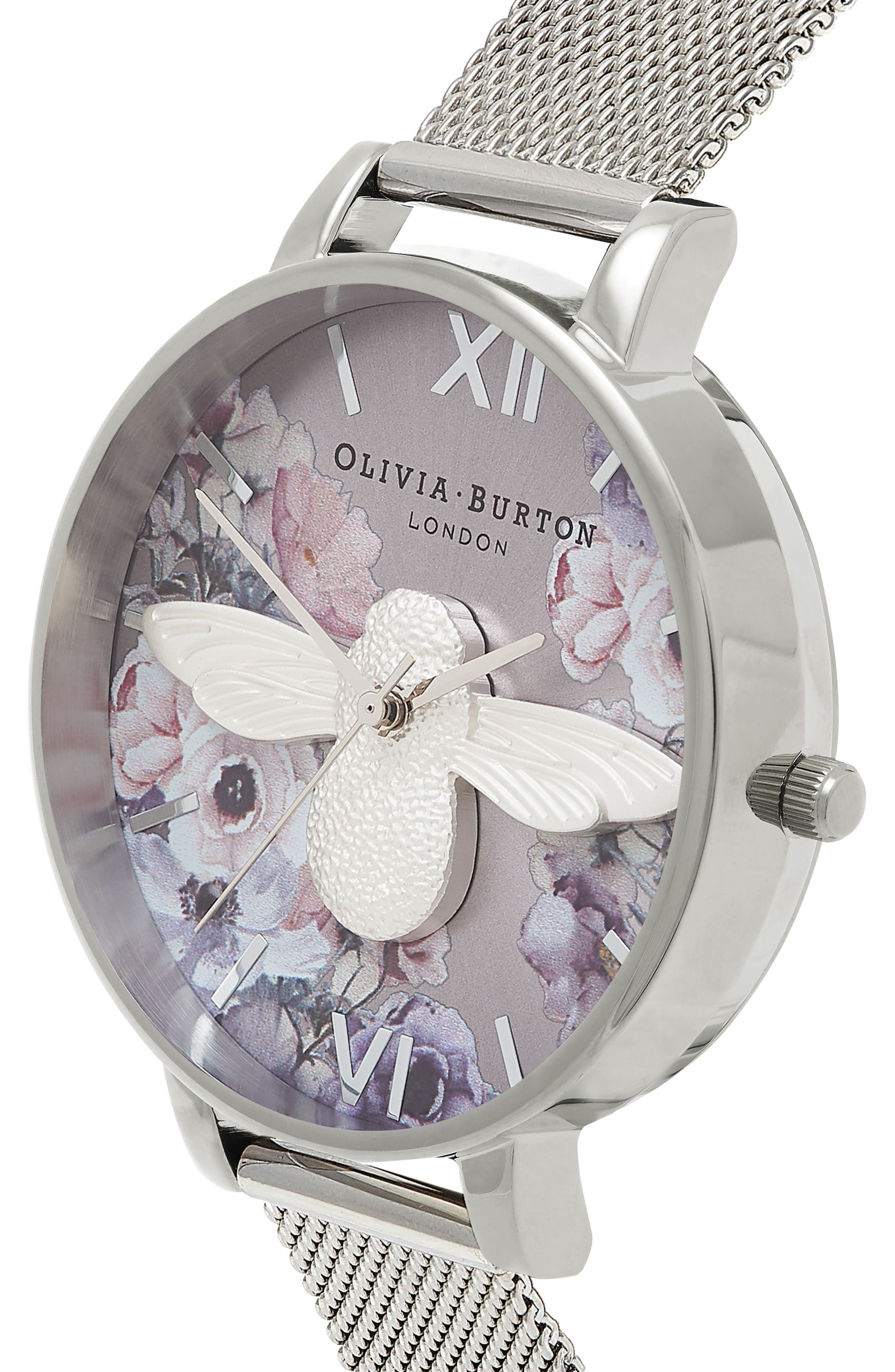 Watercolor Floral Mesh Strap Watch, 38mm,                             Alternate thumbnail 3, color,                             SILVER/ BEE/ SILVER