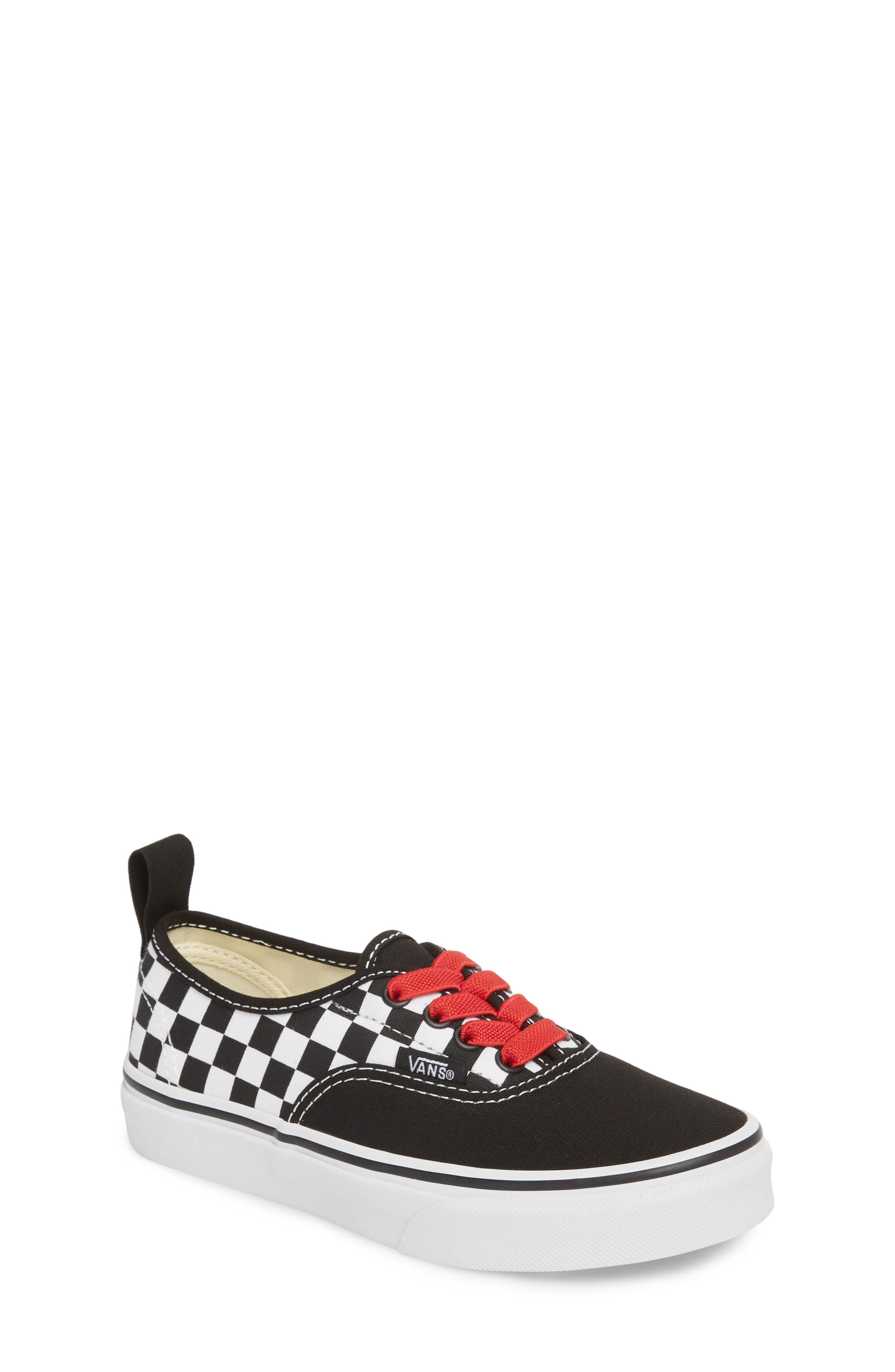 Authentic Elastic Lace Sneaker,                         Main,                         color, CHECKERBOARD BLACK/ RED/ WHITE