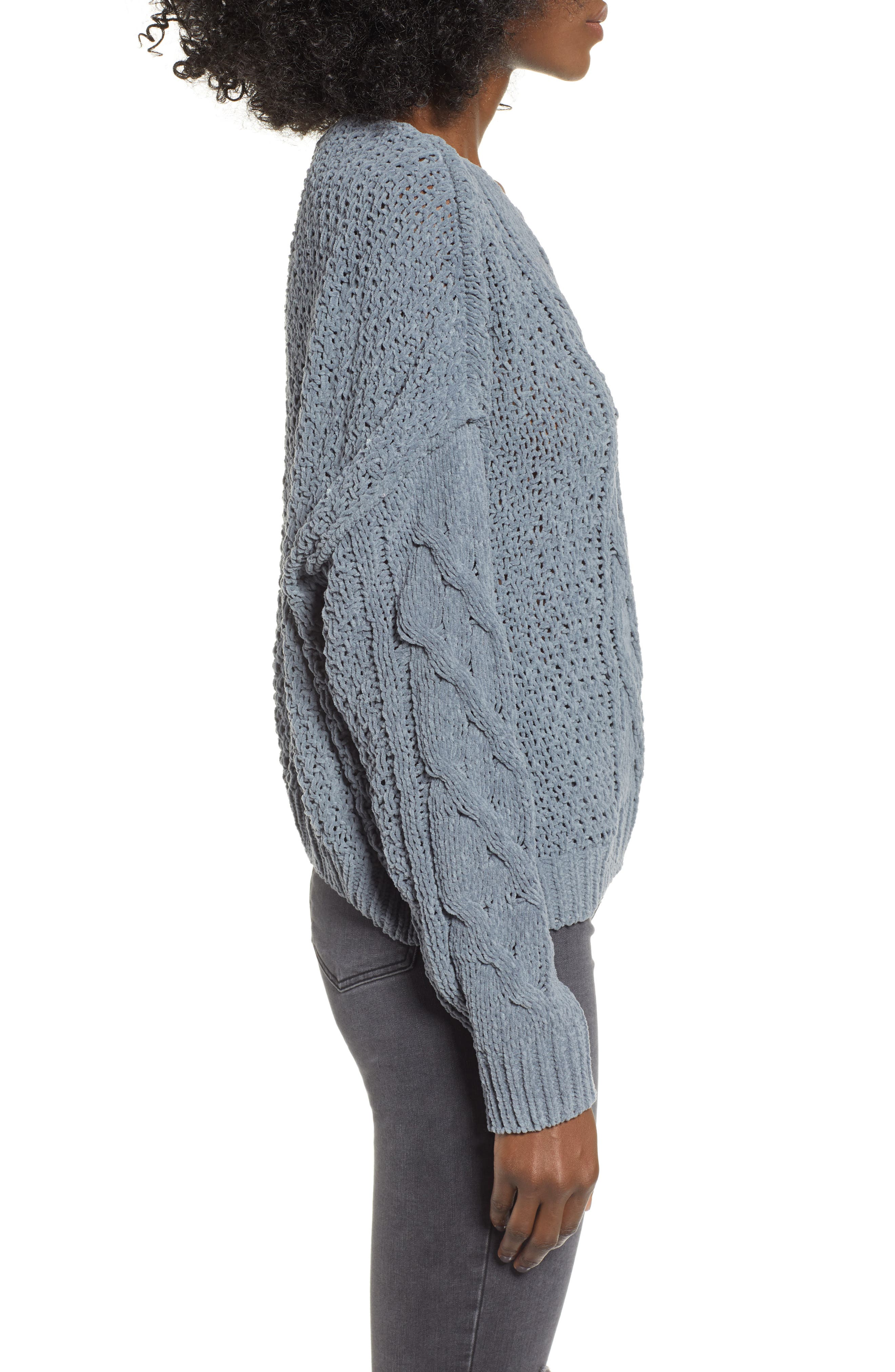 Cable Knit Sweater,                             Alternate thumbnail 3, color,                             GREY