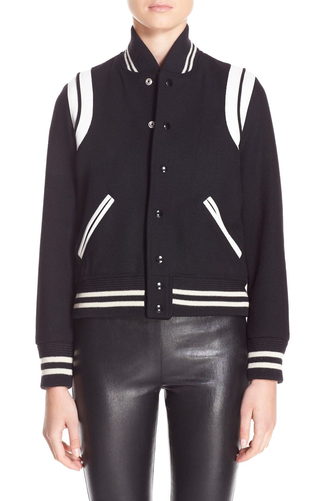 'Teddy' White Leather Trim Bomber Jacket,                             Main thumbnail 1, color,                             BLACK WHITE