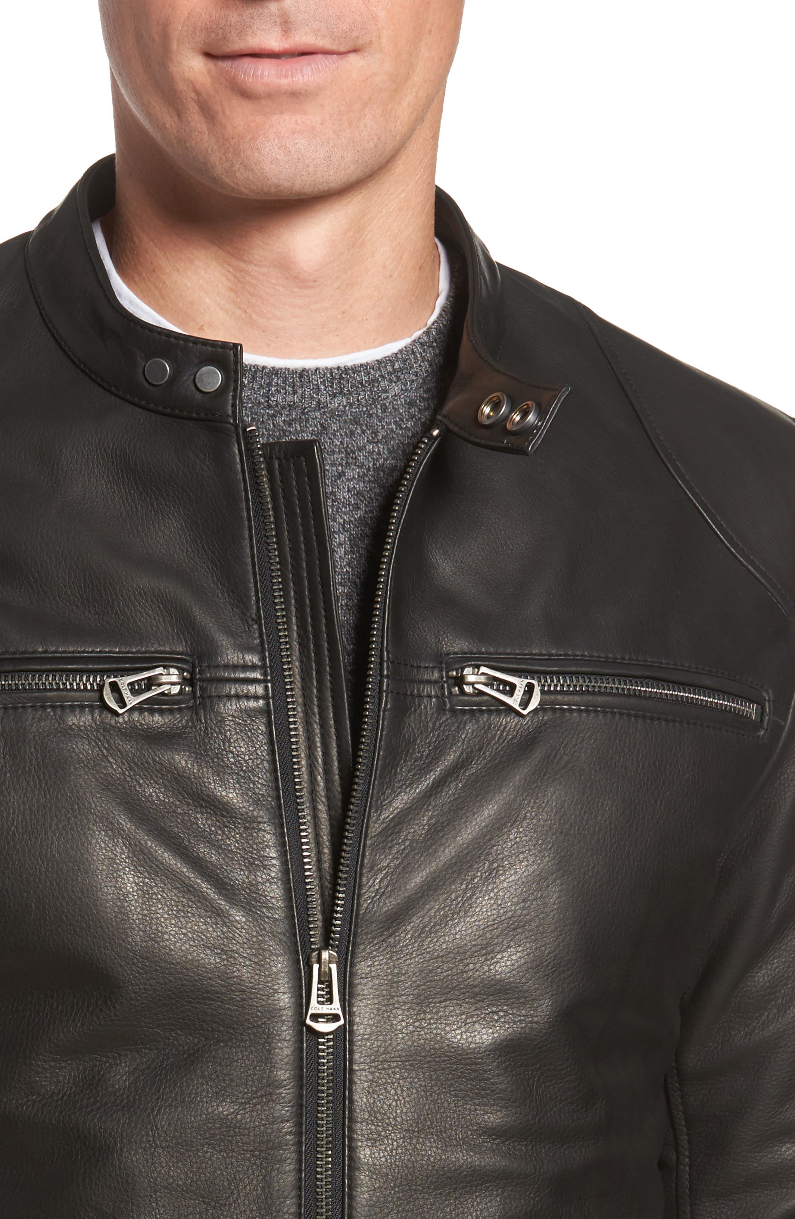Leather Zip Front Moto Jacket,                             Alternate thumbnail 4, color,                             001