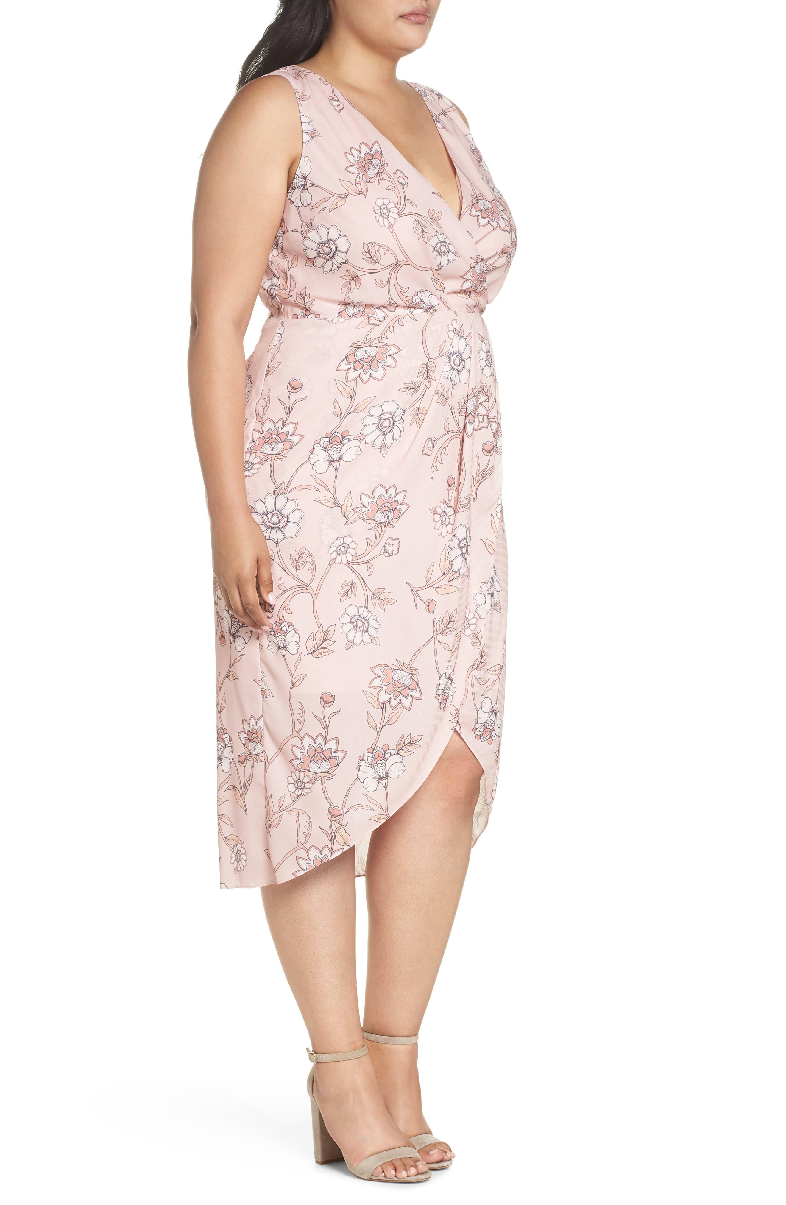 Fiorella Floral Drape Sheath Dress,                             Alternate thumbnail 3, color,                             650