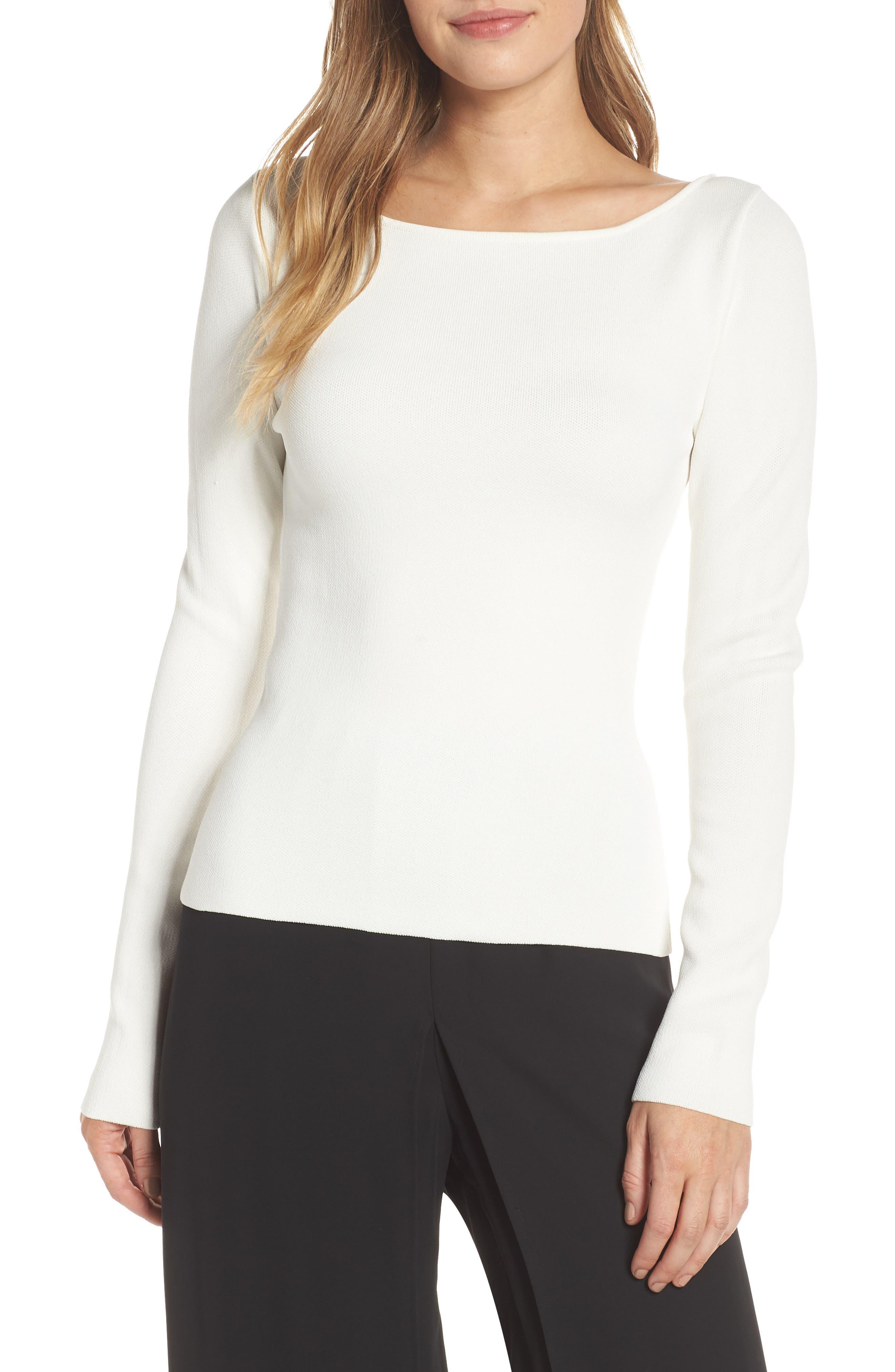 Eliza J Bow Back Sweater, Ivory