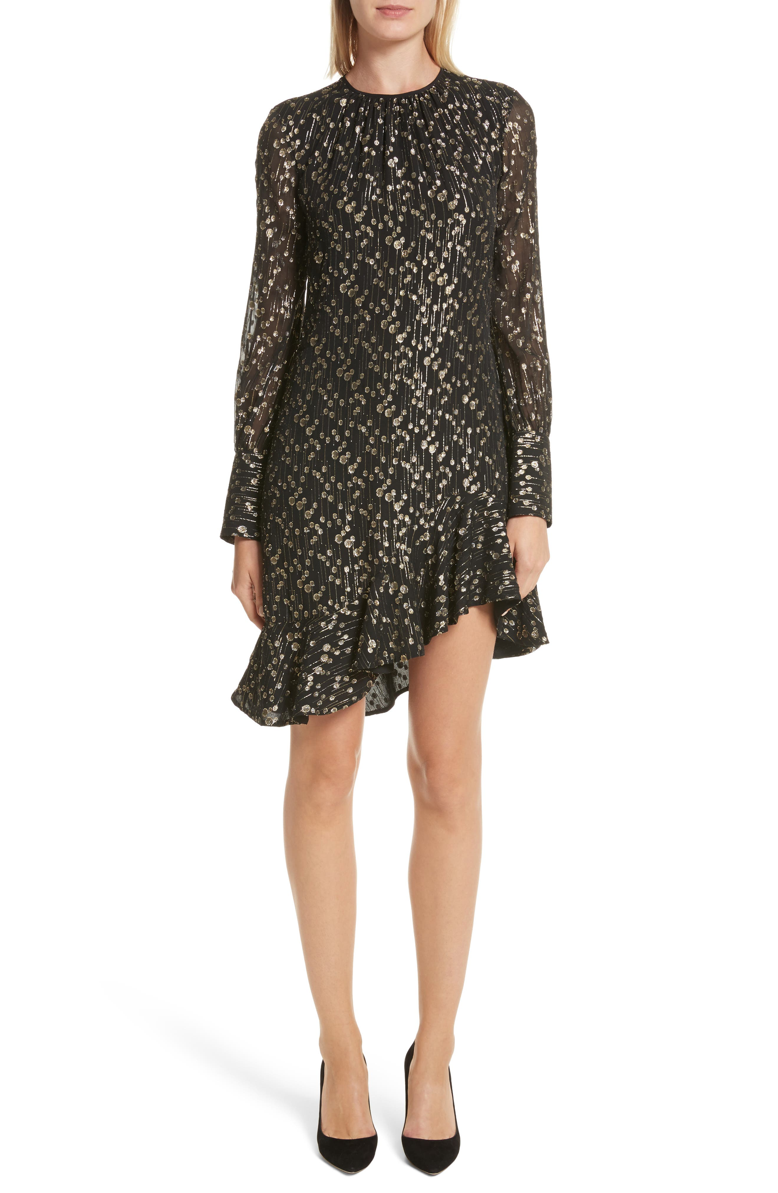 Metallic Dot Asymmetrical Ruffle Dress,                             Main thumbnail 1, color,                             001