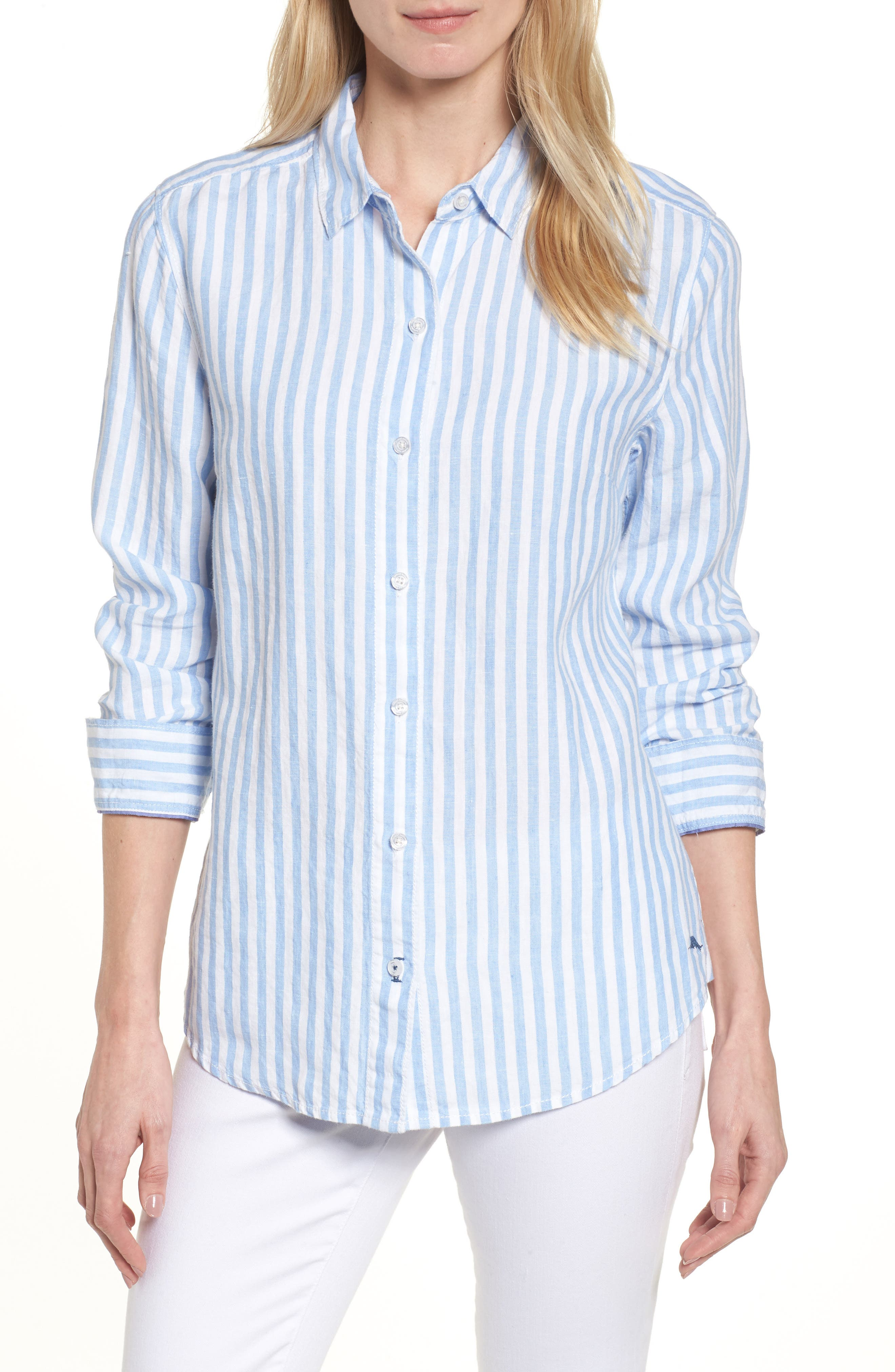 Cabana Stripe Button-Up Top,                         Main,                         color, DUSTY LUPINE
