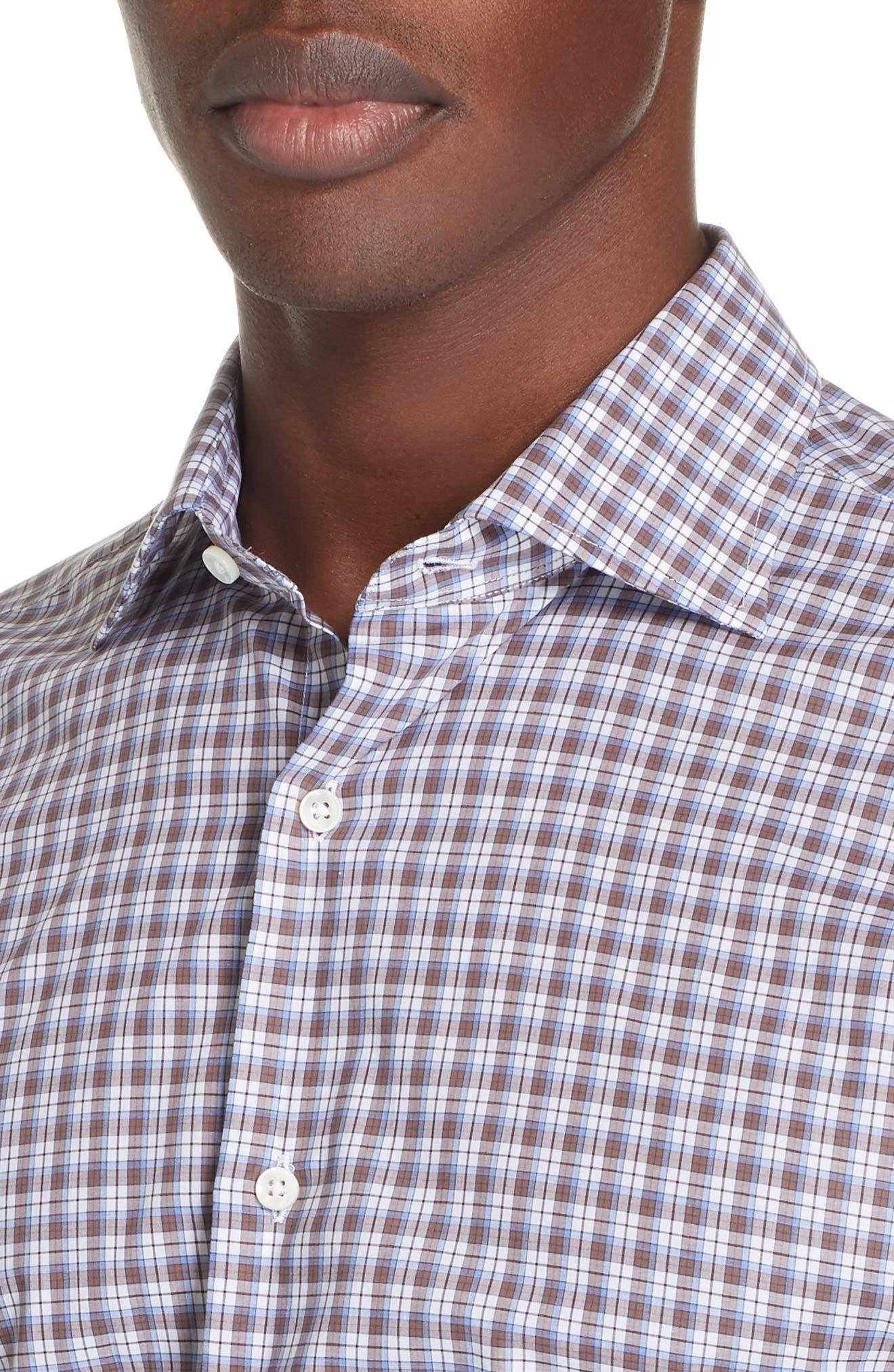 Trim Fit Plaid Dress Shirt,                             Alternate thumbnail 2, color,                             MED BROWN