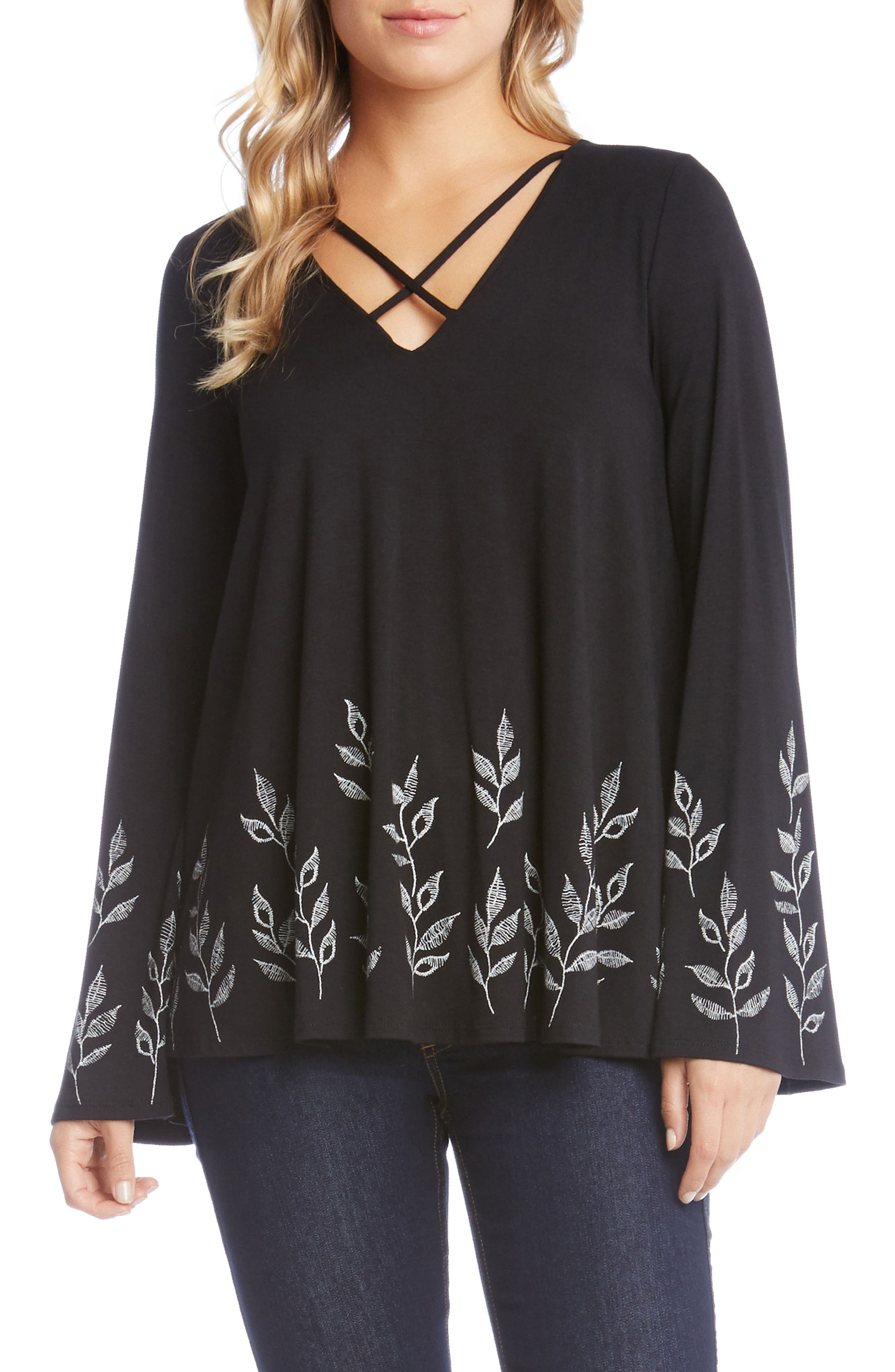 Crisscross Neck Leaf Top,                             Main thumbnail 1, color,                             001
