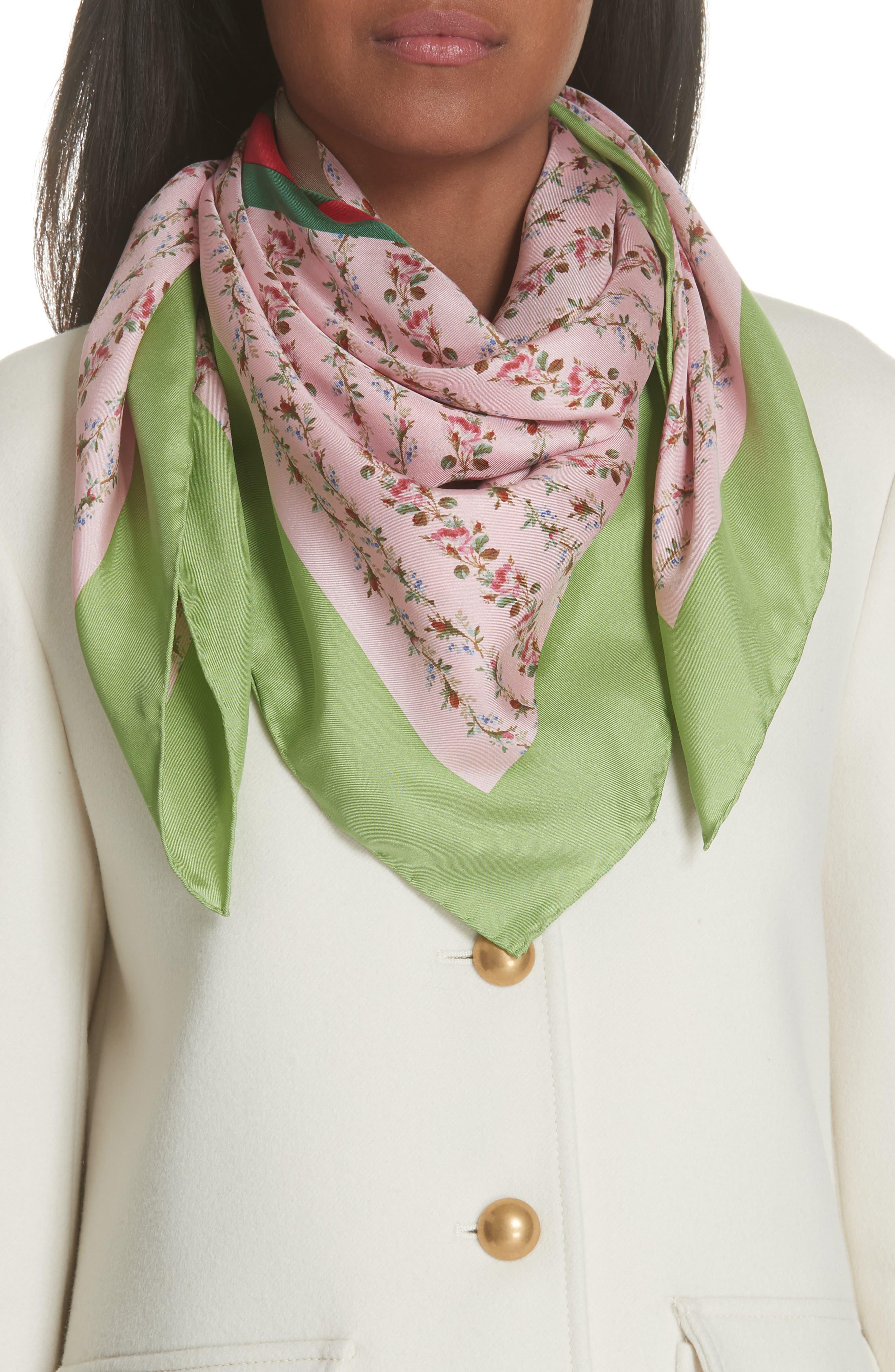 Vintage Rose Foulard Silk Scarf,                         Main,                         color, ROSETE/ LIGHT GREEN