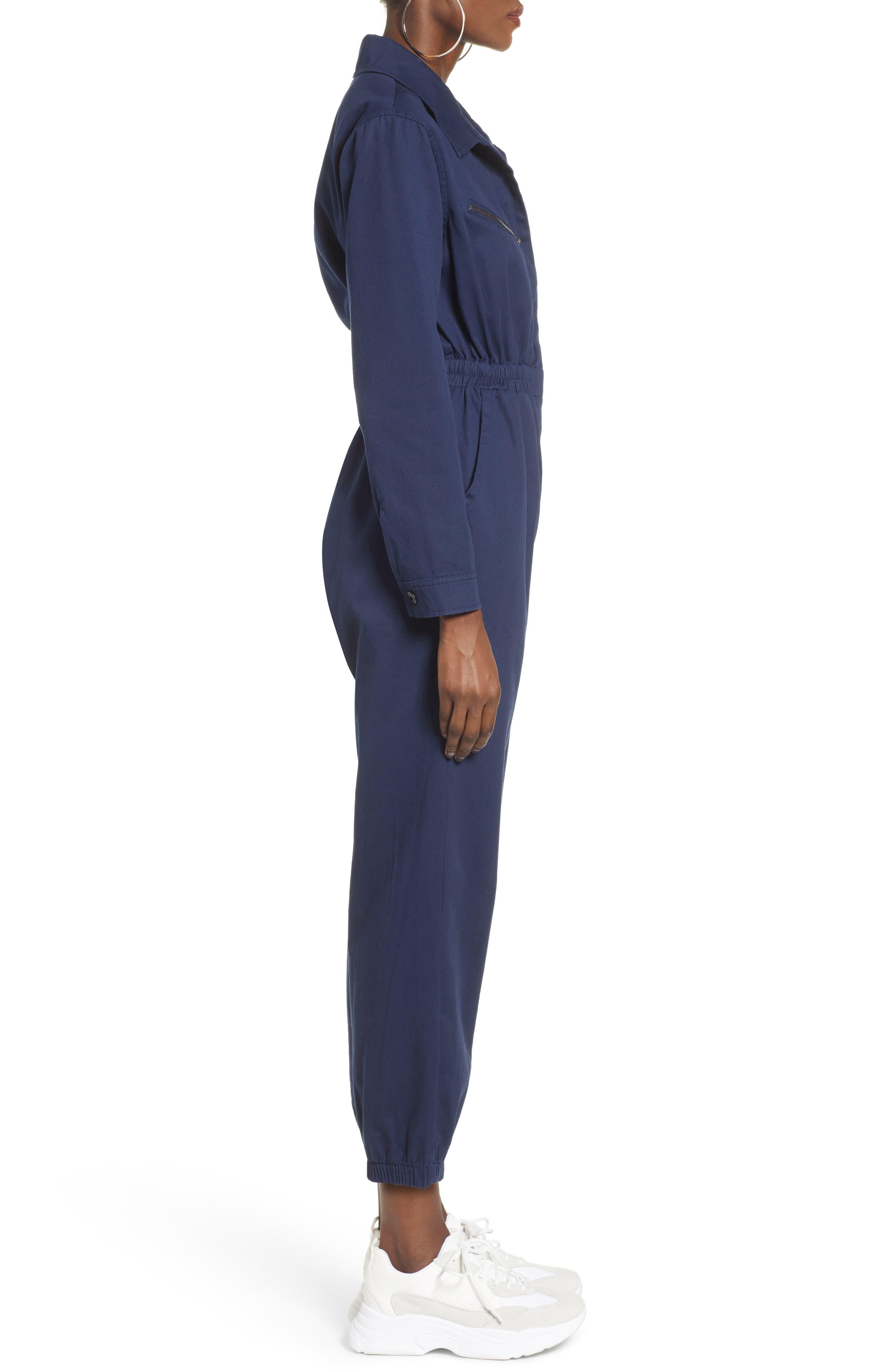 TEN SIXTY SHERMAN,                             Twill Workwear Jumpsuit,                             Alternate thumbnail 3, color,                             OXFORD BLUE