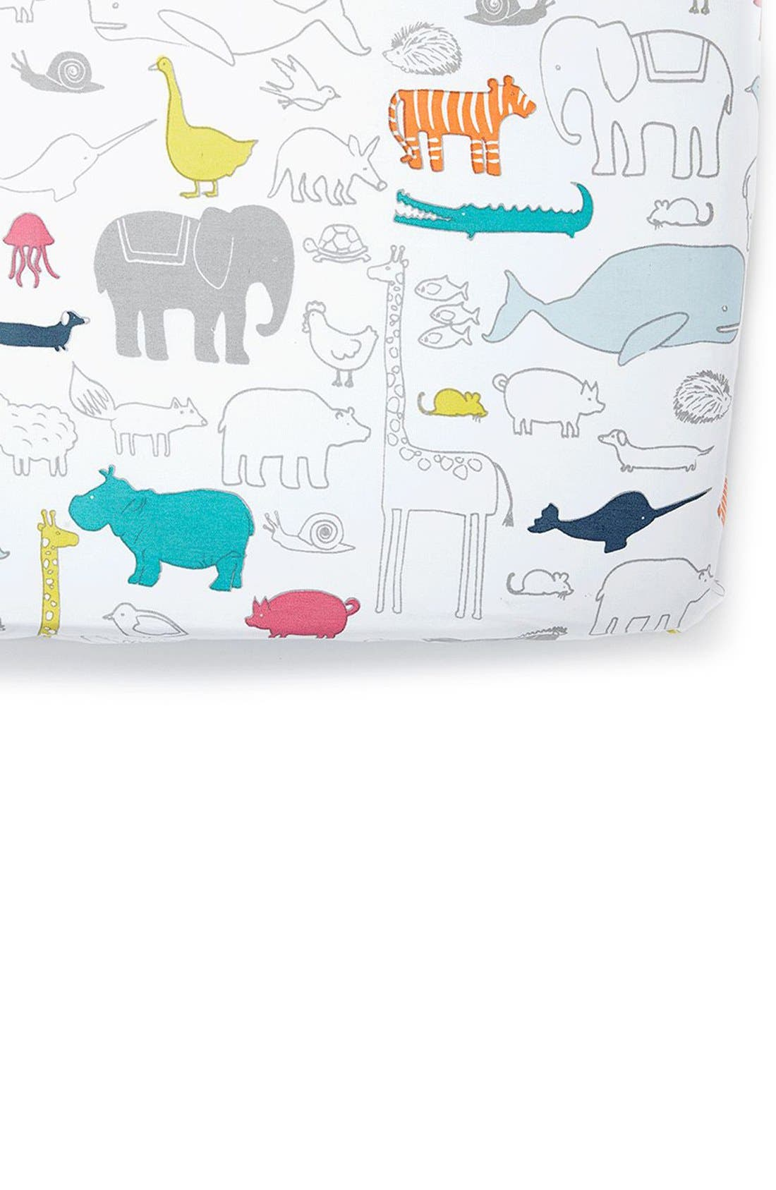 Noahs Ark Cotton Crib Sheet,                             Main thumbnail 1, color,                             NOAHS ARK