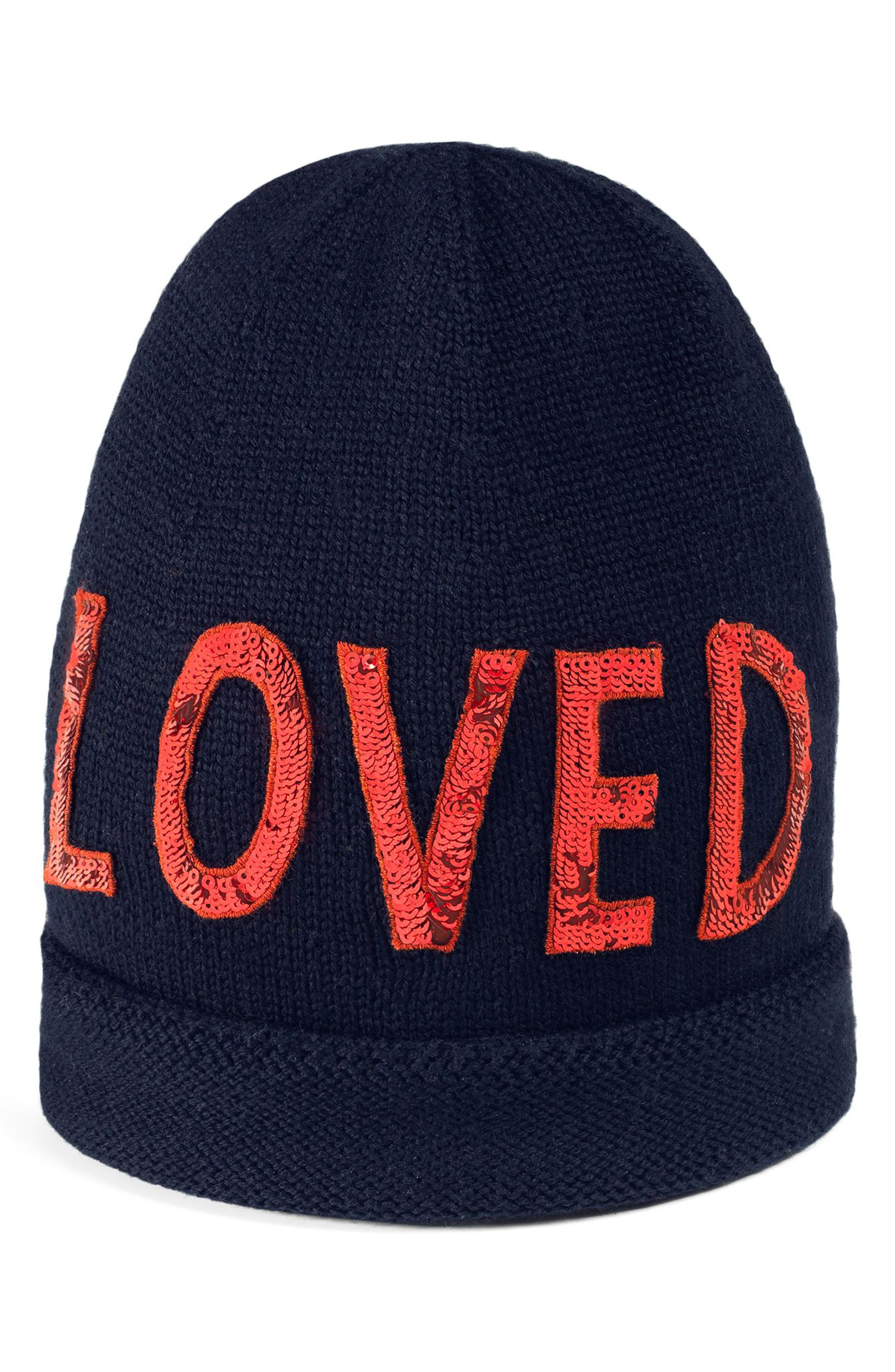 Loved Sequin Wool Beanie,                             Main thumbnail 1, color,                             MIDNIGHT BLUE