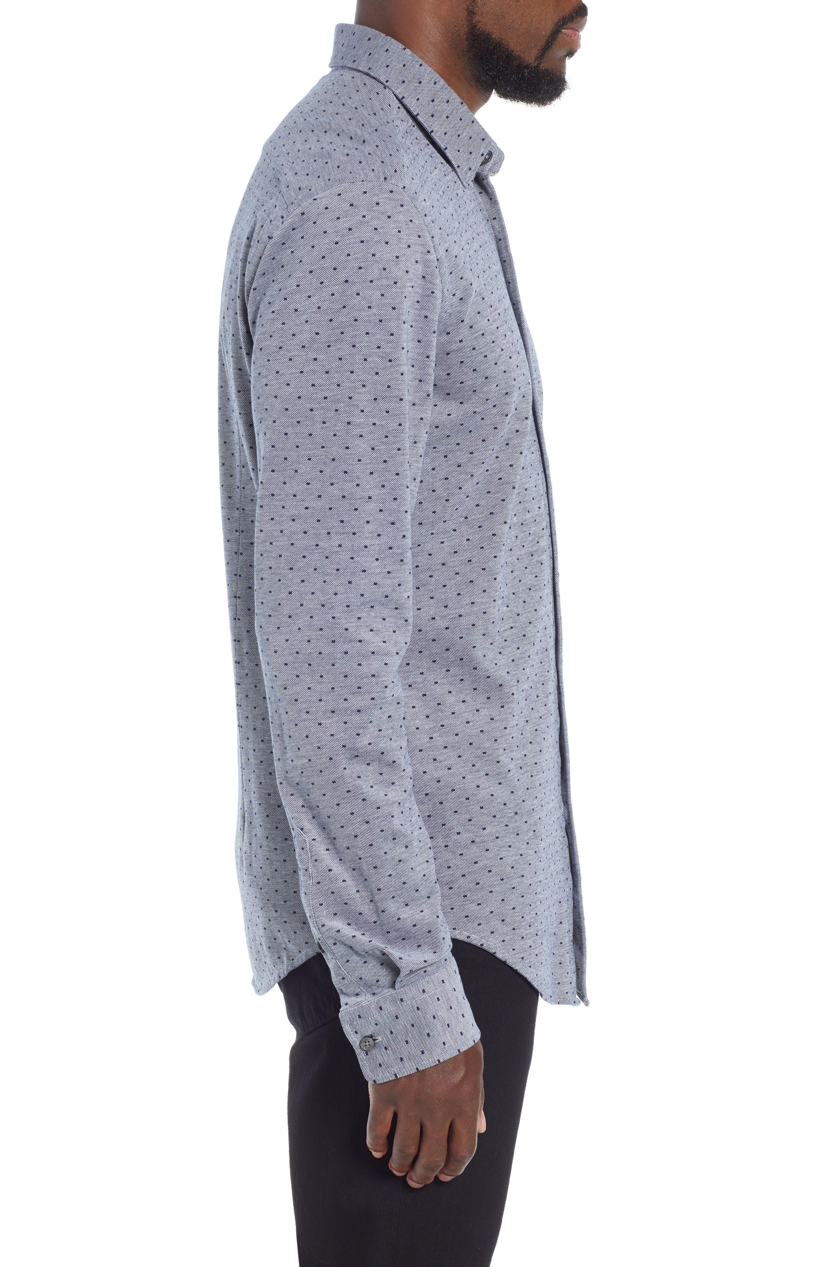 Ronni Slim Fit Dot Sport Shirt,                             Alternate thumbnail 4, color,                             BLUE