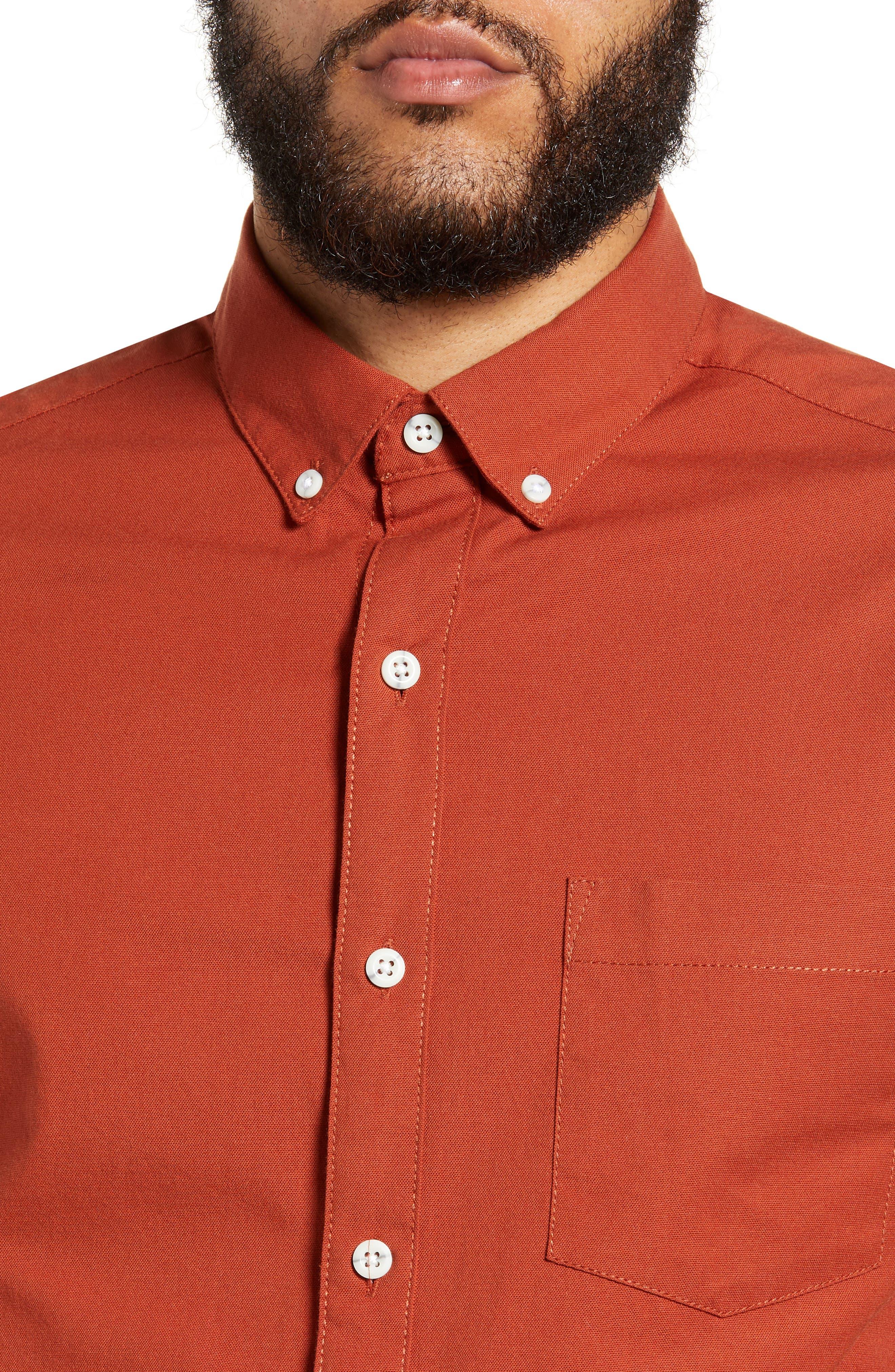 TOPMAN,                             Classic Fit Oxford Shirt,                             Alternate thumbnail 2, color,                             BROWN