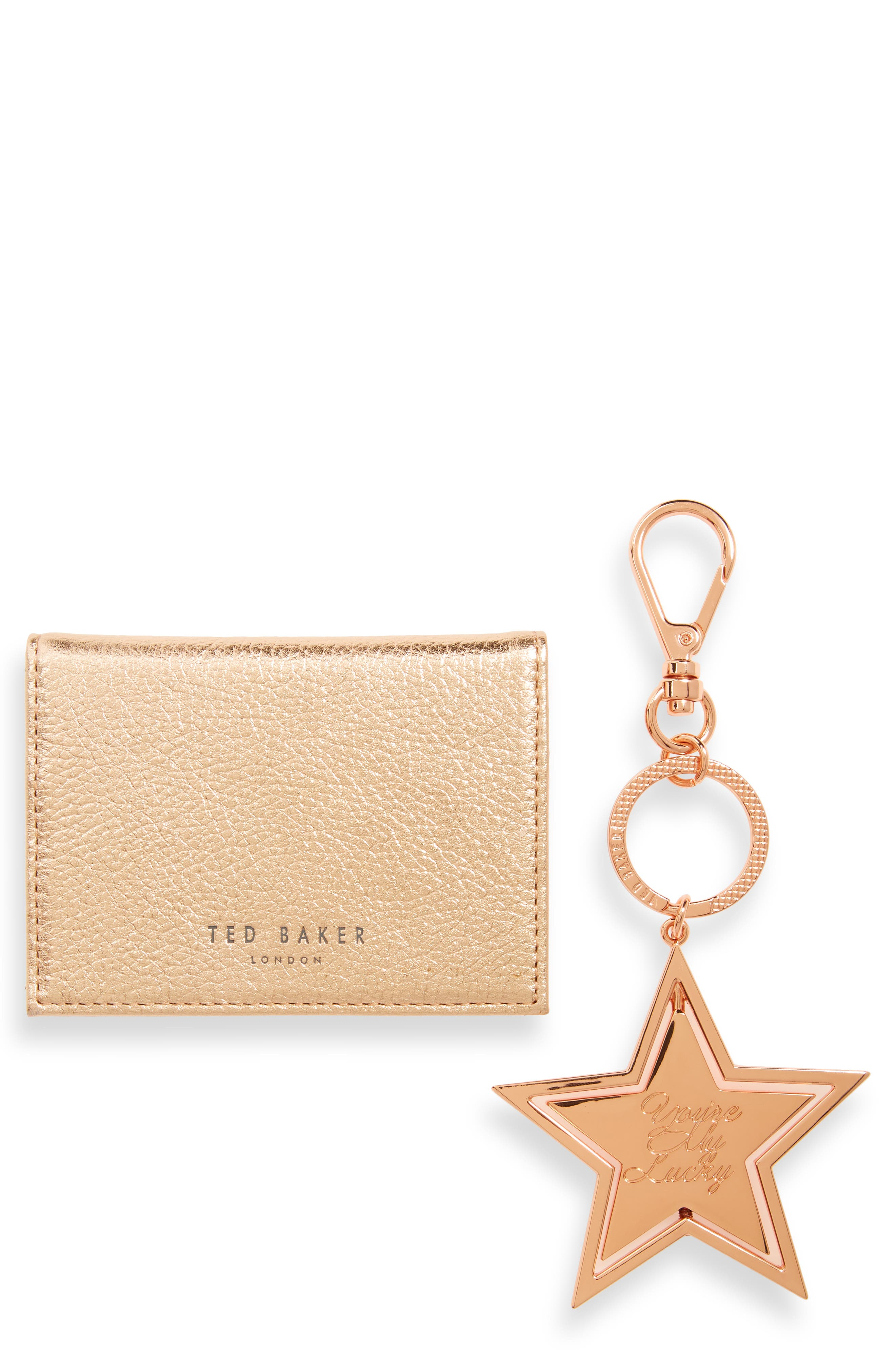 TED BAKER LONDON,                             Leather Card Case & Key Ring Set,                             Main thumbnail 1, color,                             ROSE GOLD