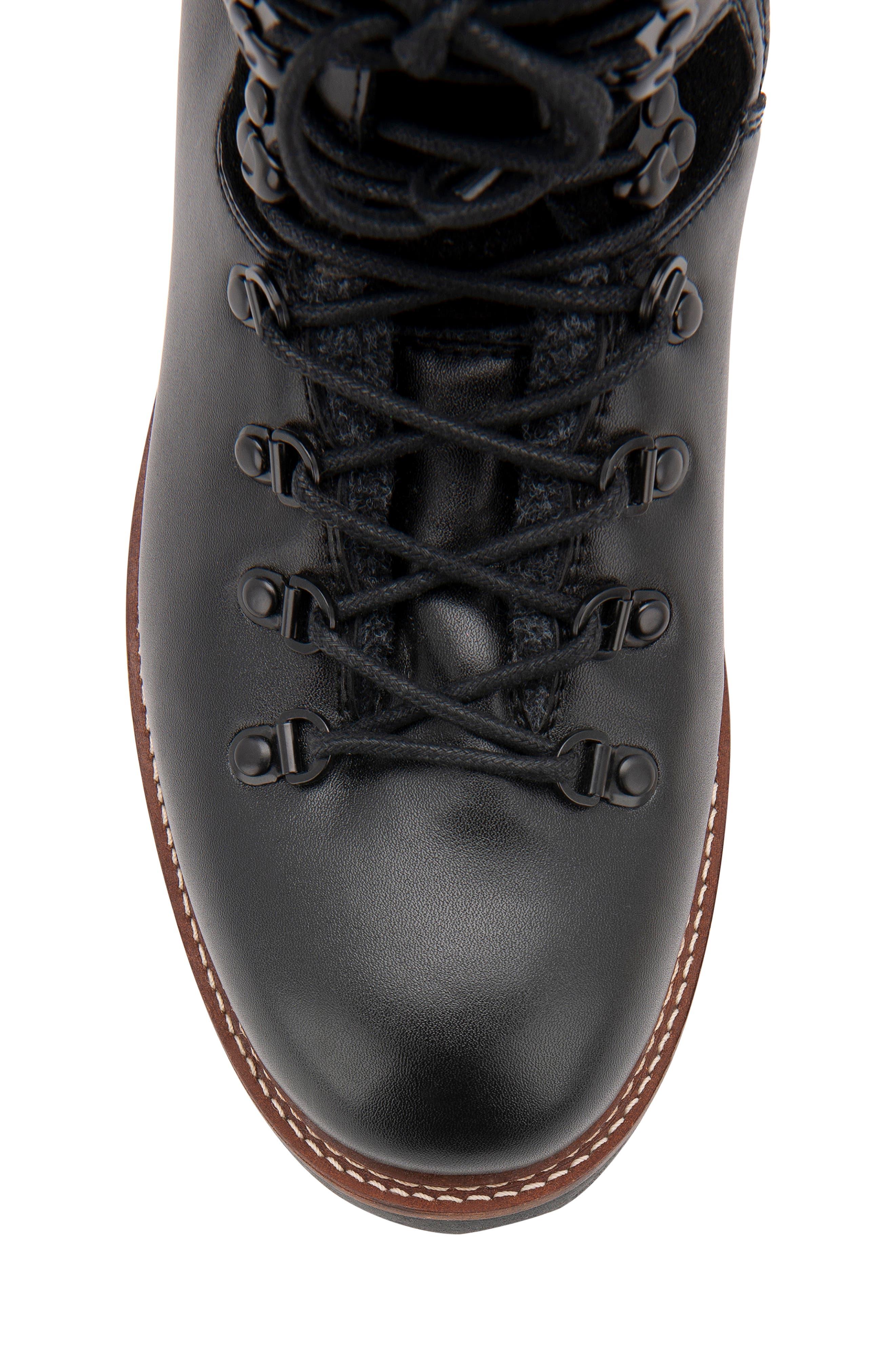 Morgan Waterproof Plain Toe Boot,                             Alternate thumbnail 6, color,                             BLACK LEATHER