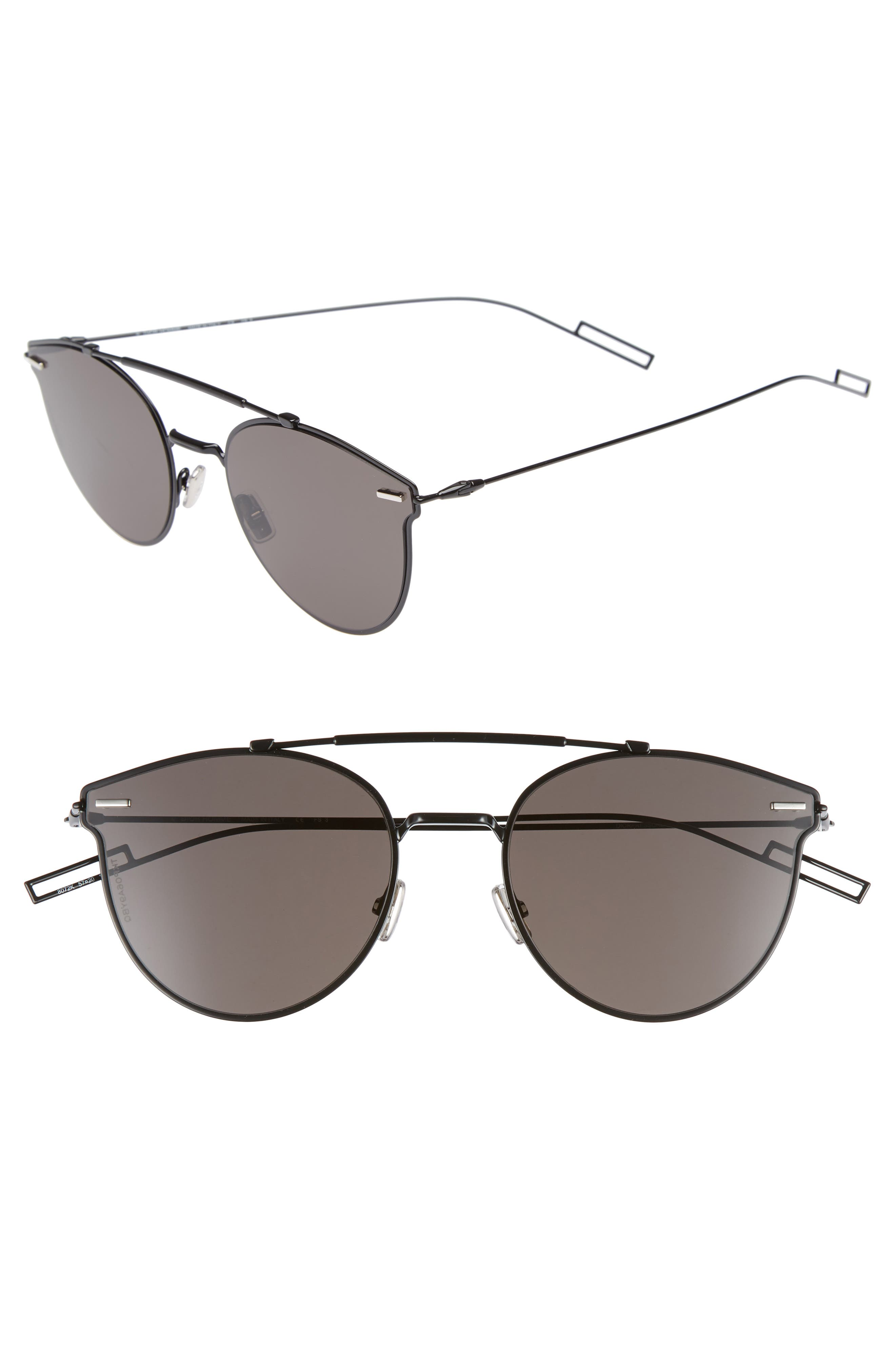 Pressure 57mm Sunglasses,                             Main thumbnail 1, color,                             BLACK
