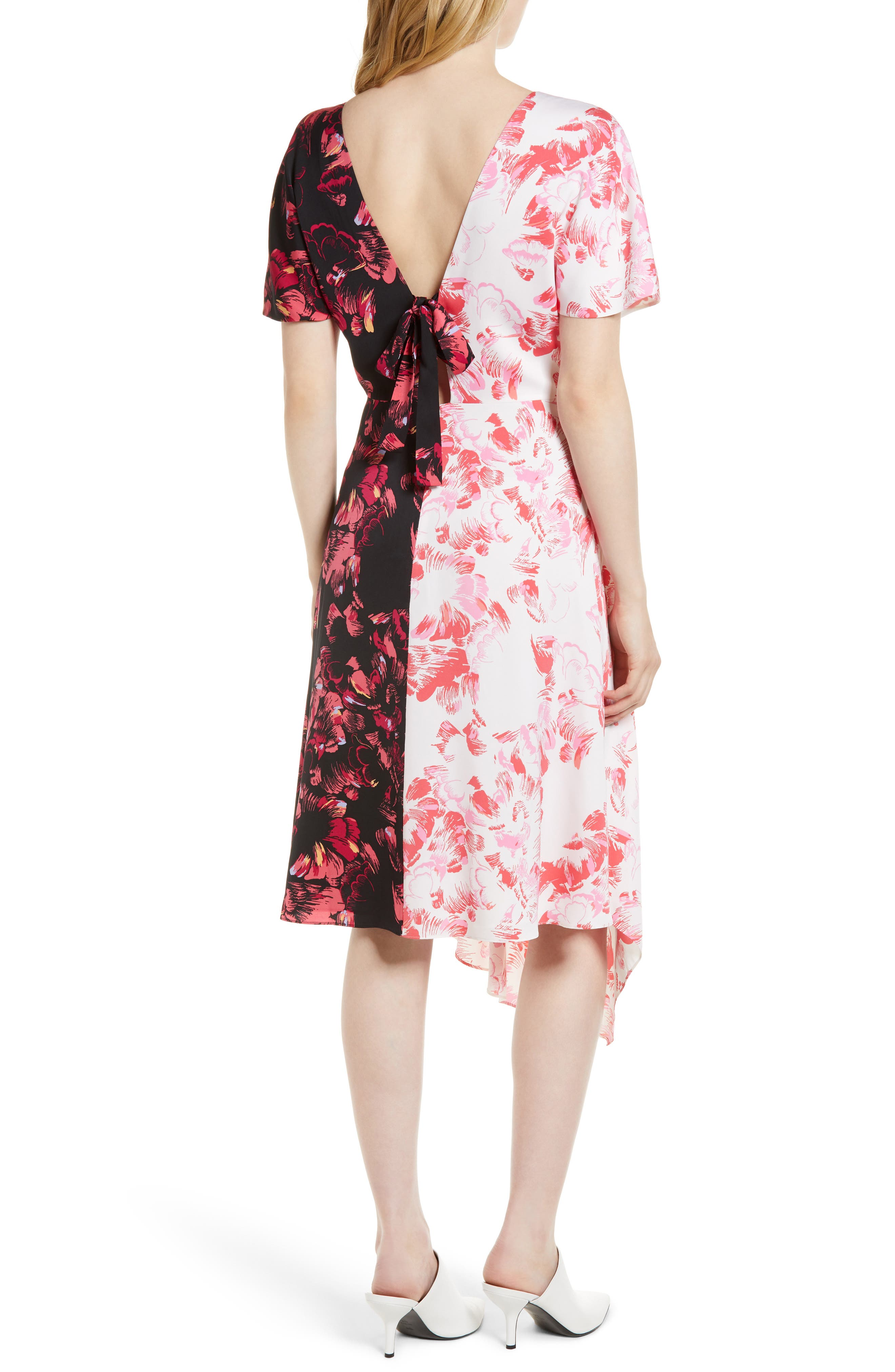Double Print Floral Stretch Silk Dress,                             Alternate thumbnail 2, color,